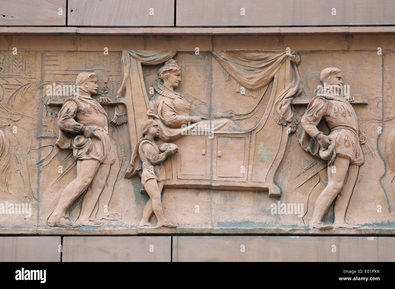 London, England, UK. No1 Poultry (James Stirling, 1994) historical frieze on the facade: royal procession - Queen Elizabeth I - Stock Image