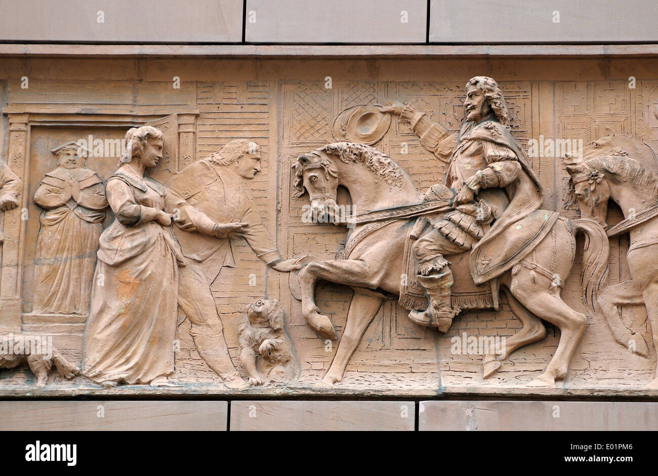 London, England, UK. No1 Poultry (James Stirling, 1994) historical frieze on the facade: royal procession - Charles II - Stock Image