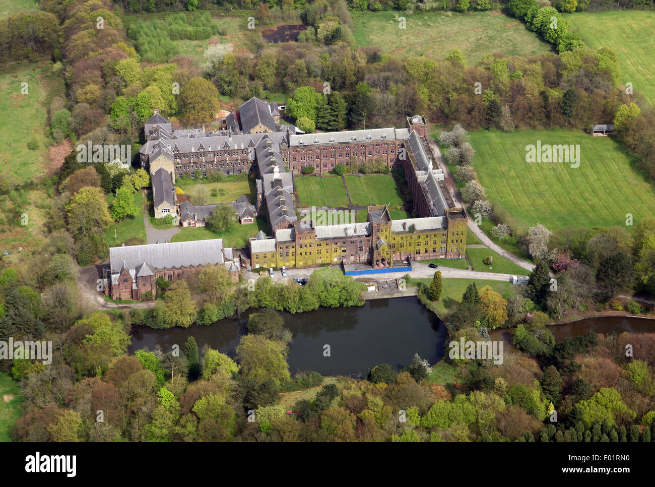aerial view of St Joseph's College school in Walthew Park, Upholland, Lancashire - Stock Image