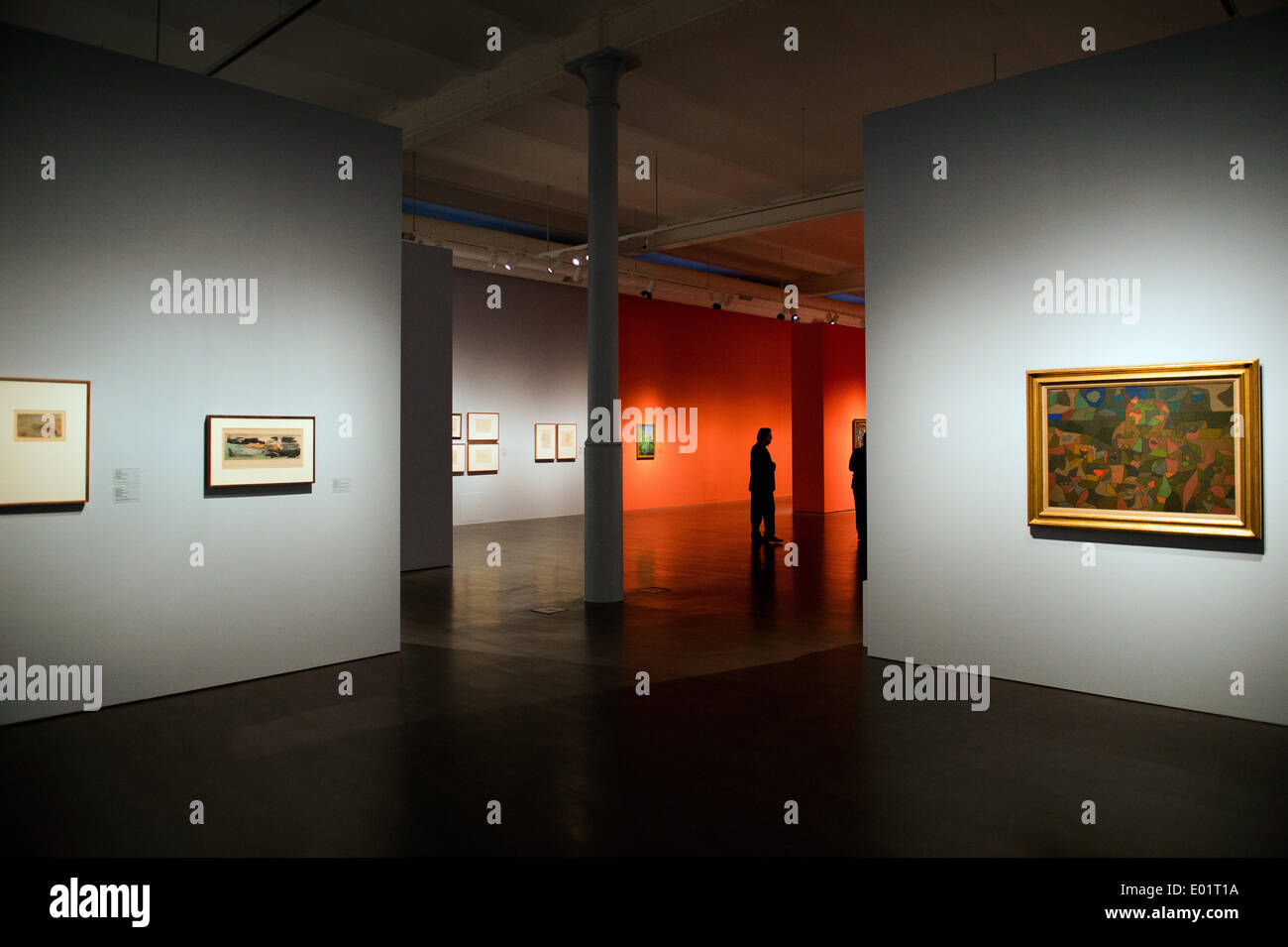 Dresden, Germany. 29th Apr, 2014. About 140 travel pictures by painter Slevogt ((1868-1932, displayed on the orange walls) and Klee (1879-1940, displayed on the grey walls) are shown in the special exhibition 'To Egypt! The journeys of Max Slevogt und Paul Klee' in the Albertinum in Dresden, Germany, 29 April 2014. The exhibition of the Dresden State Art Collections runs from 30 April to 03 August 2014. Photo: Arno Burgi/dpa/Alamy Live News - Stock Image