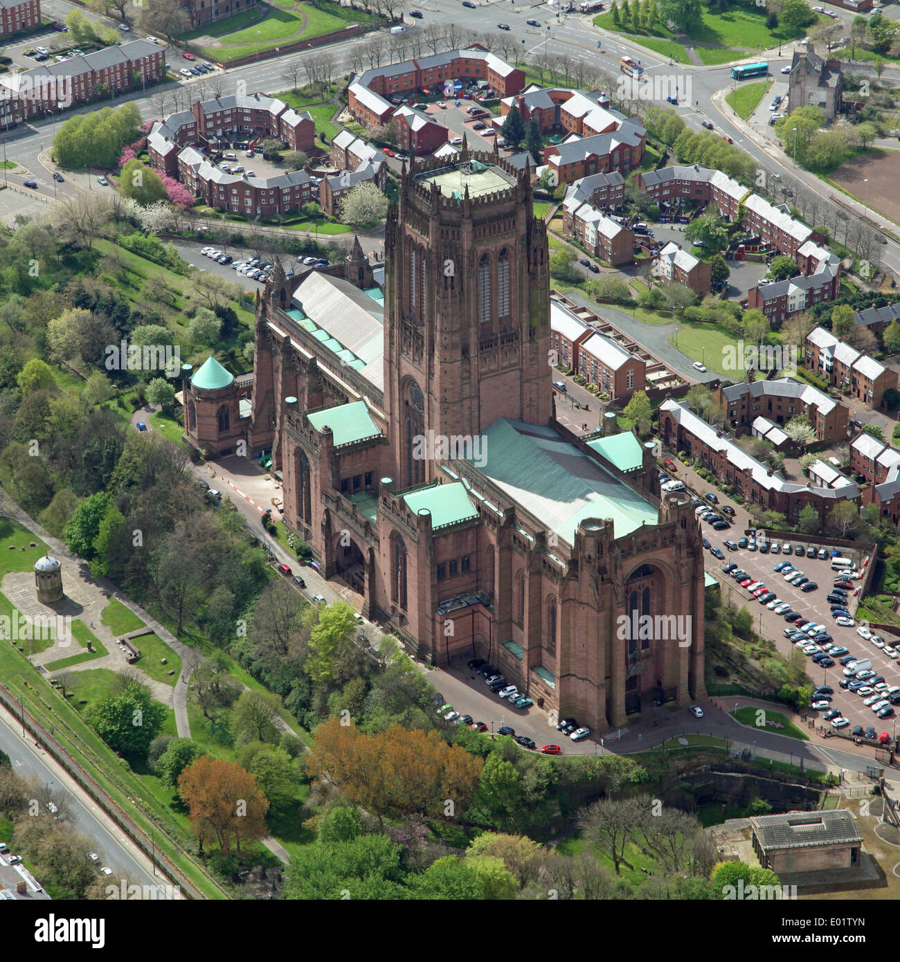 aerial view of the Anglican Cathedral in Liverpool - Stock Image