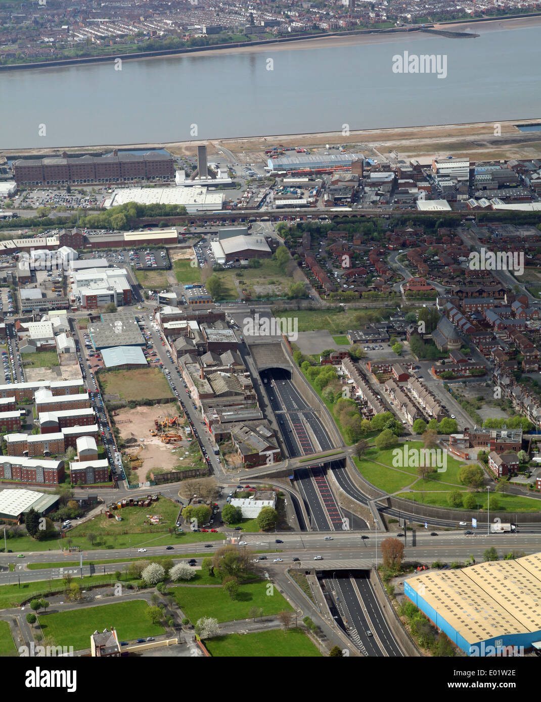 aerial view of the eastern entrance to the Mersey Tunnel in Liverpool - Stock Image