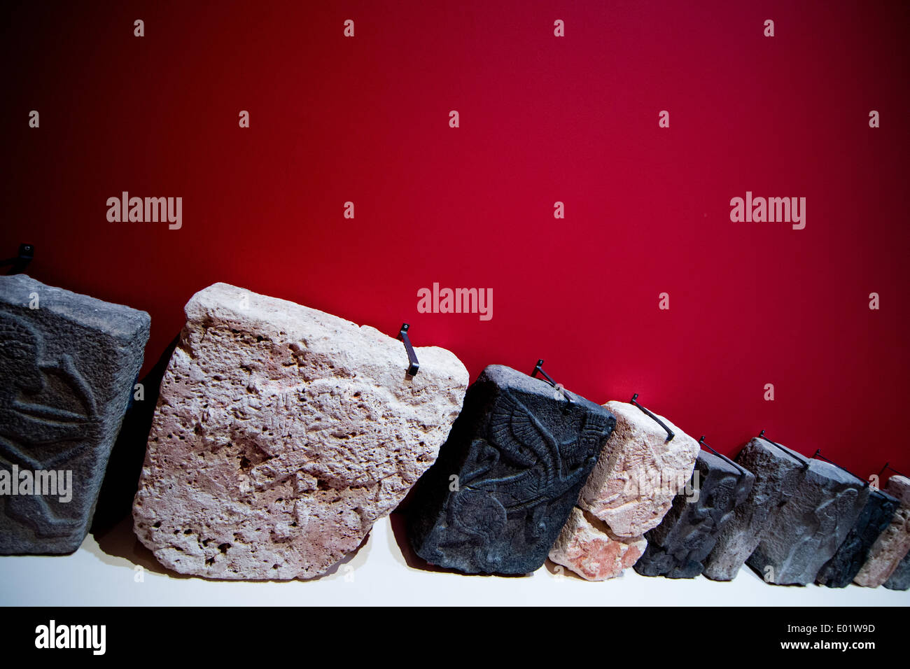 Bonn, Germany. 29th Apr, 2014. Small orthostats of the west palace of Tell Halaf (Syria) are displayed in the exhibition Stock Photo