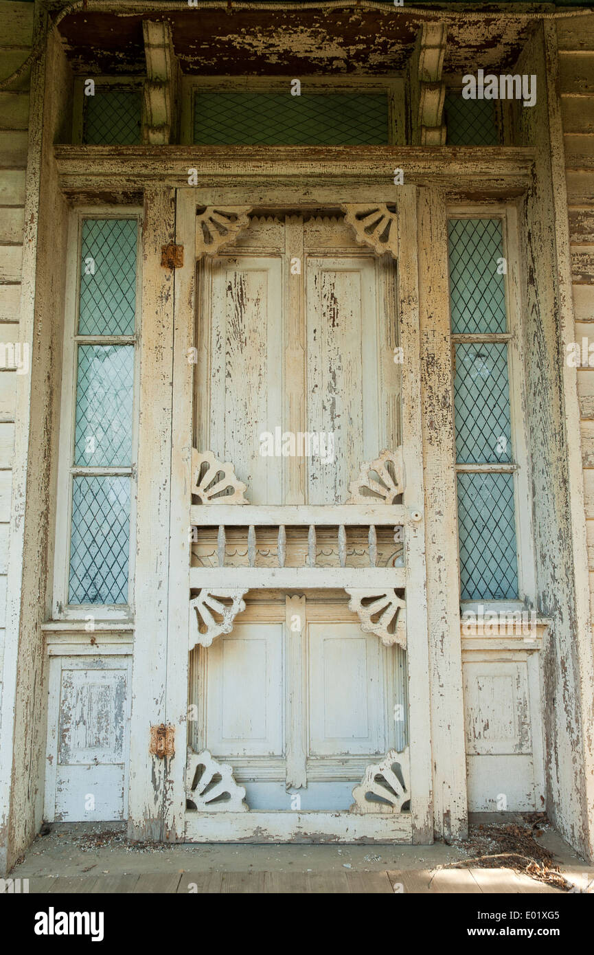 Front door of an old abandoned house in rural Virginia. - Stock Image
