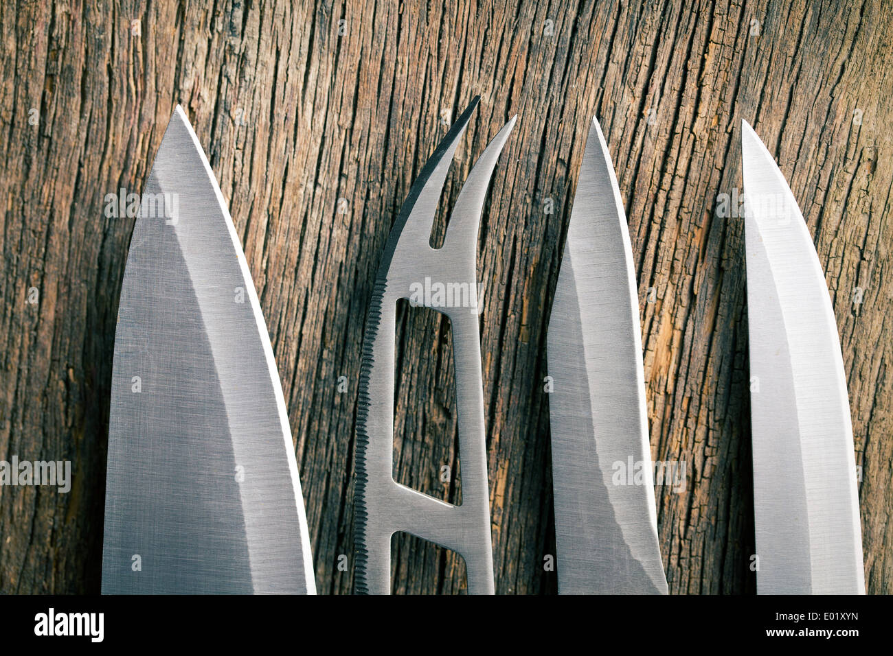 the blade of a kitchen knives - Stock Image