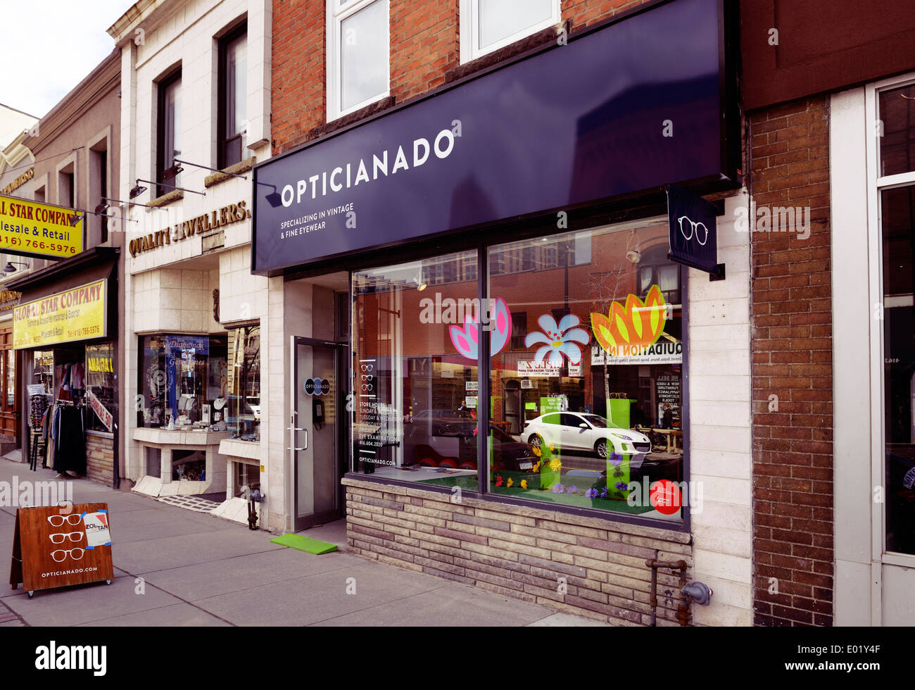 Opticianado vintage and fine eyewear store at the Junction neighbourhood in Toronto, Canada - Stock Image