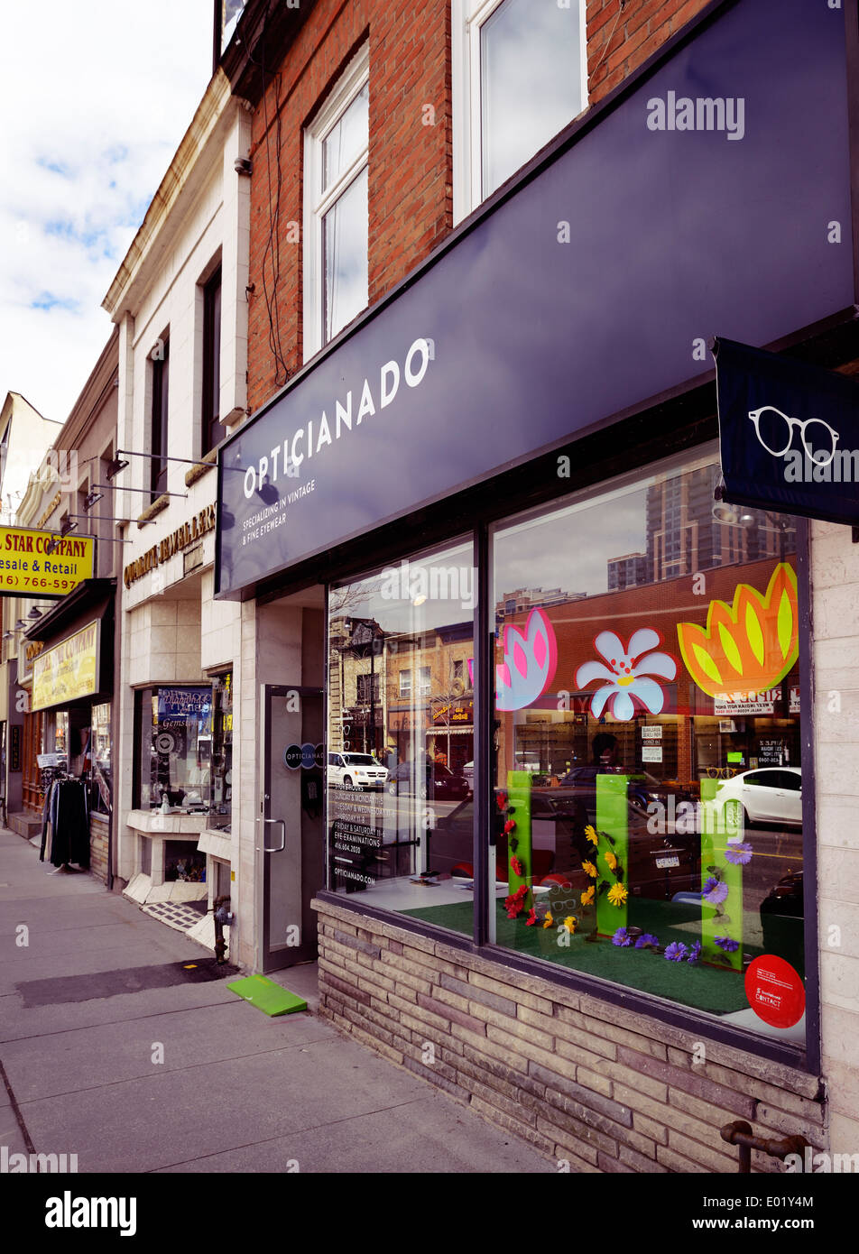 Opticianado vintage eyewear store at the Junction neighbourhood in Toronto, Canada - Stock Image