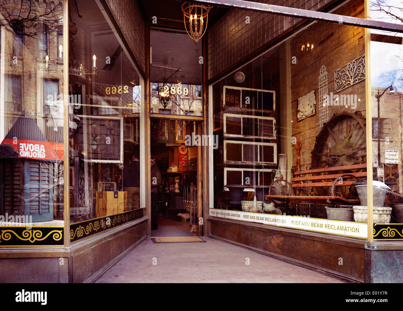 Post and Beam Reclamation, antique home decor store at the Junction neighbourhood in Toronto, Canada - Stock Image