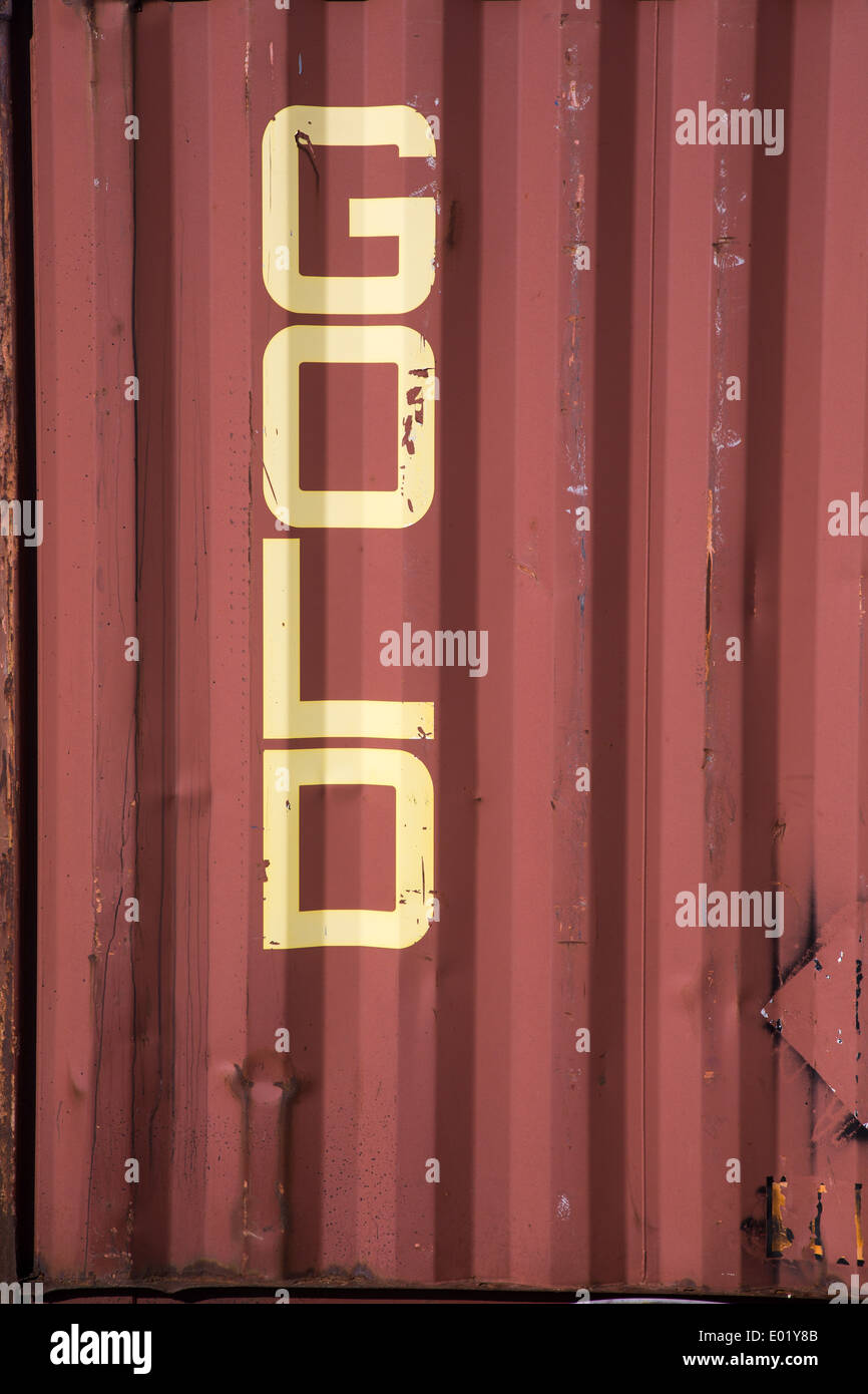 Wording on a disused freight container, Dungeness Kent - Stock Image