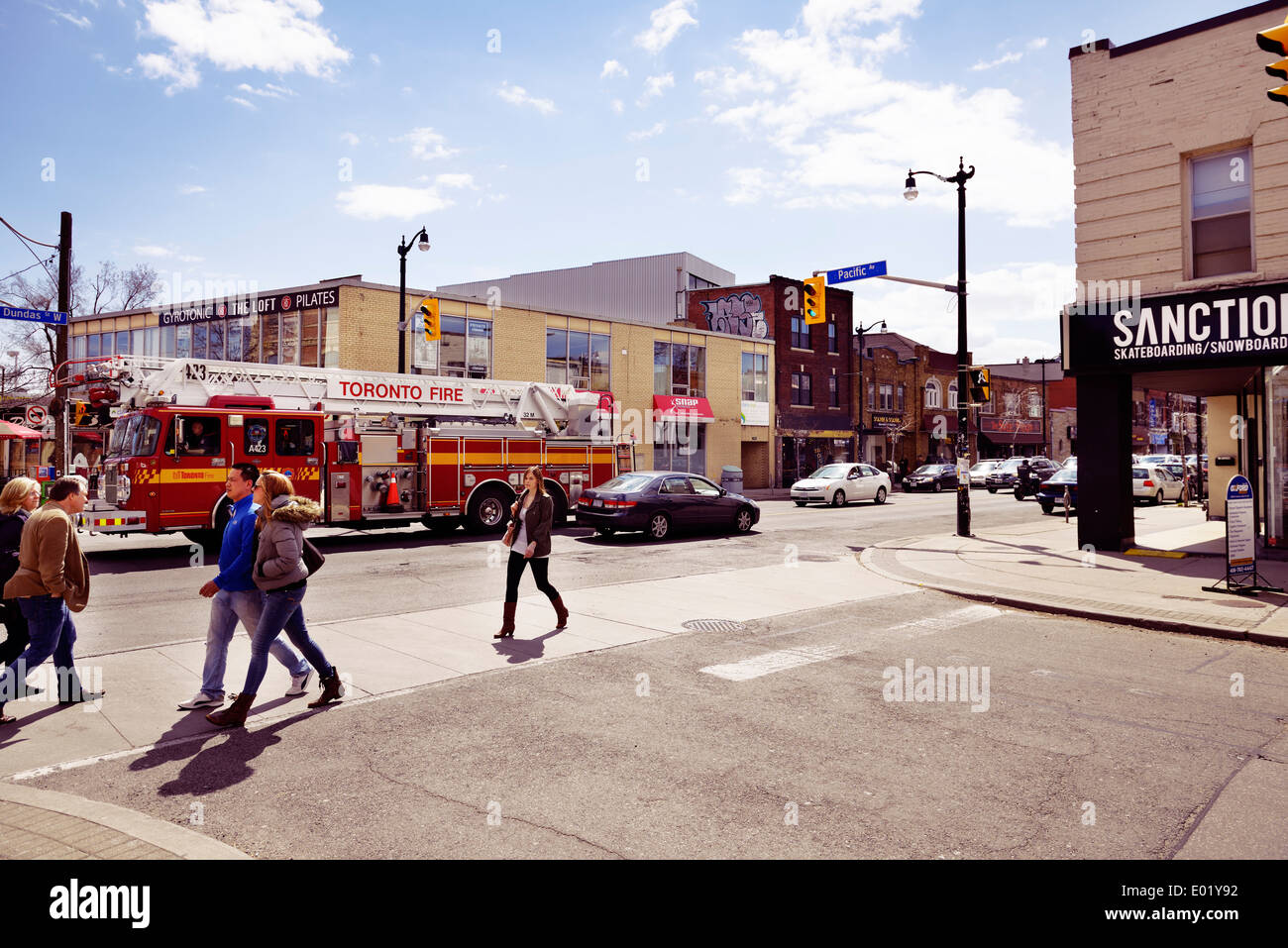 Pacific and Dundas intersection at the Junction neighbourhood in Toronto, Canada - Stock Image