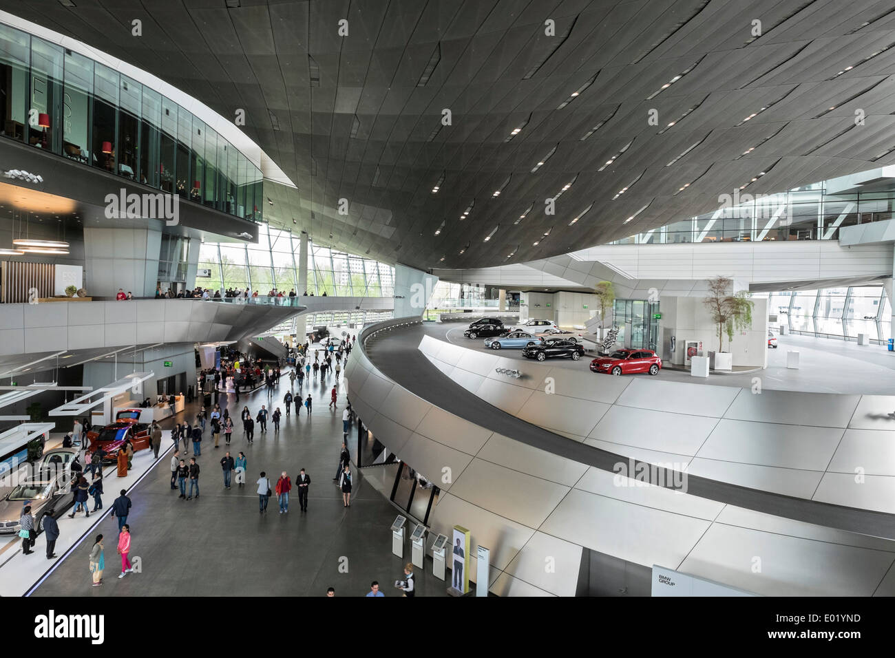 Interior of BMW Welt or BMW World in Munich Germany - Stock Image
