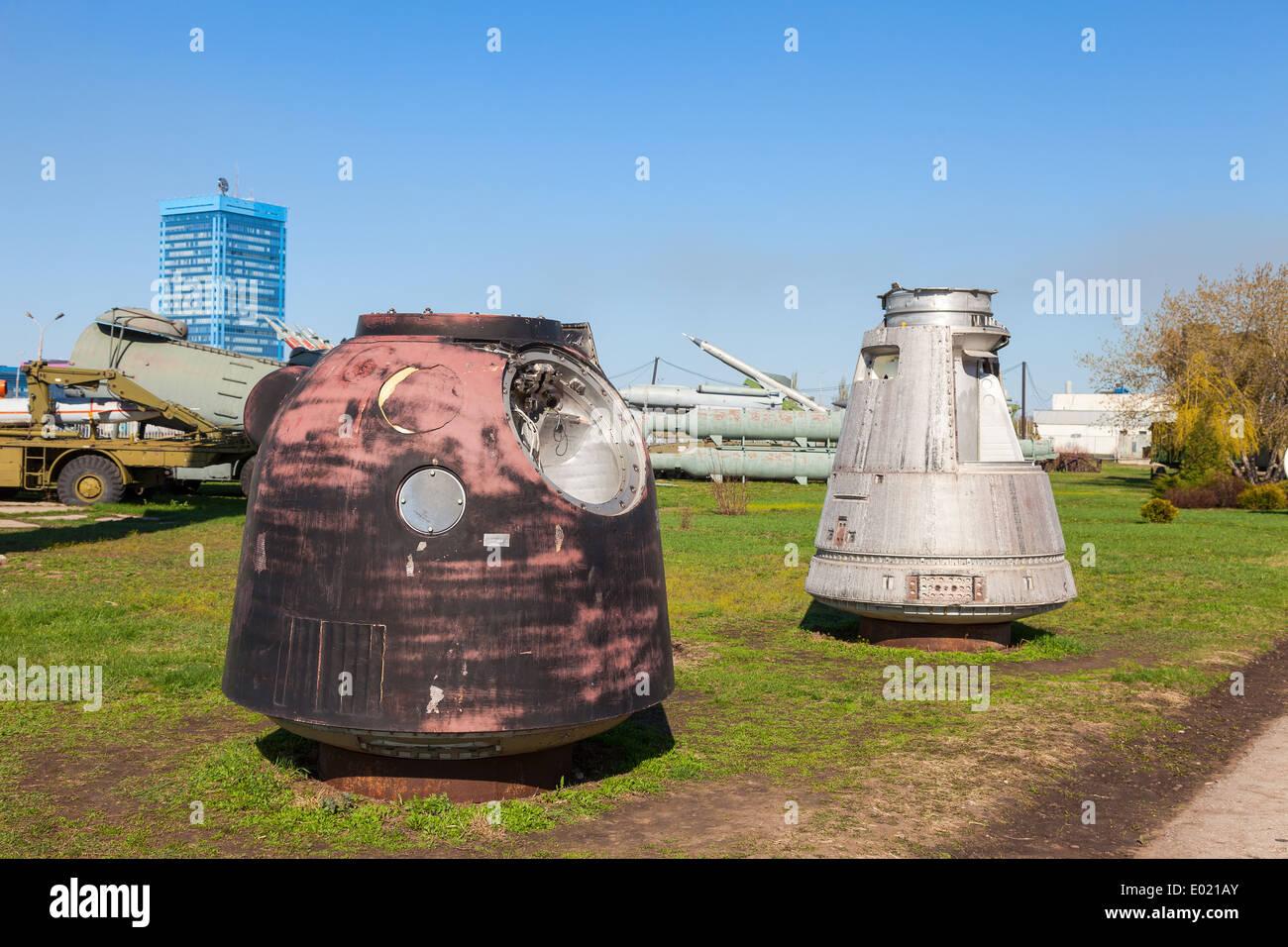 Lander spacecraft 'Soyuz' and returned bay satellite photo reconnaissance 'Yantar-2K' - Stock Image