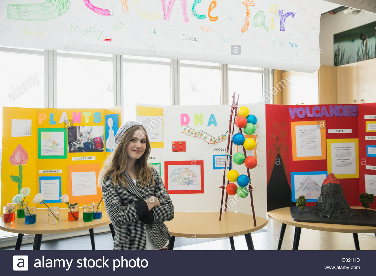 Portrait of school girl at science fair Stock Photo