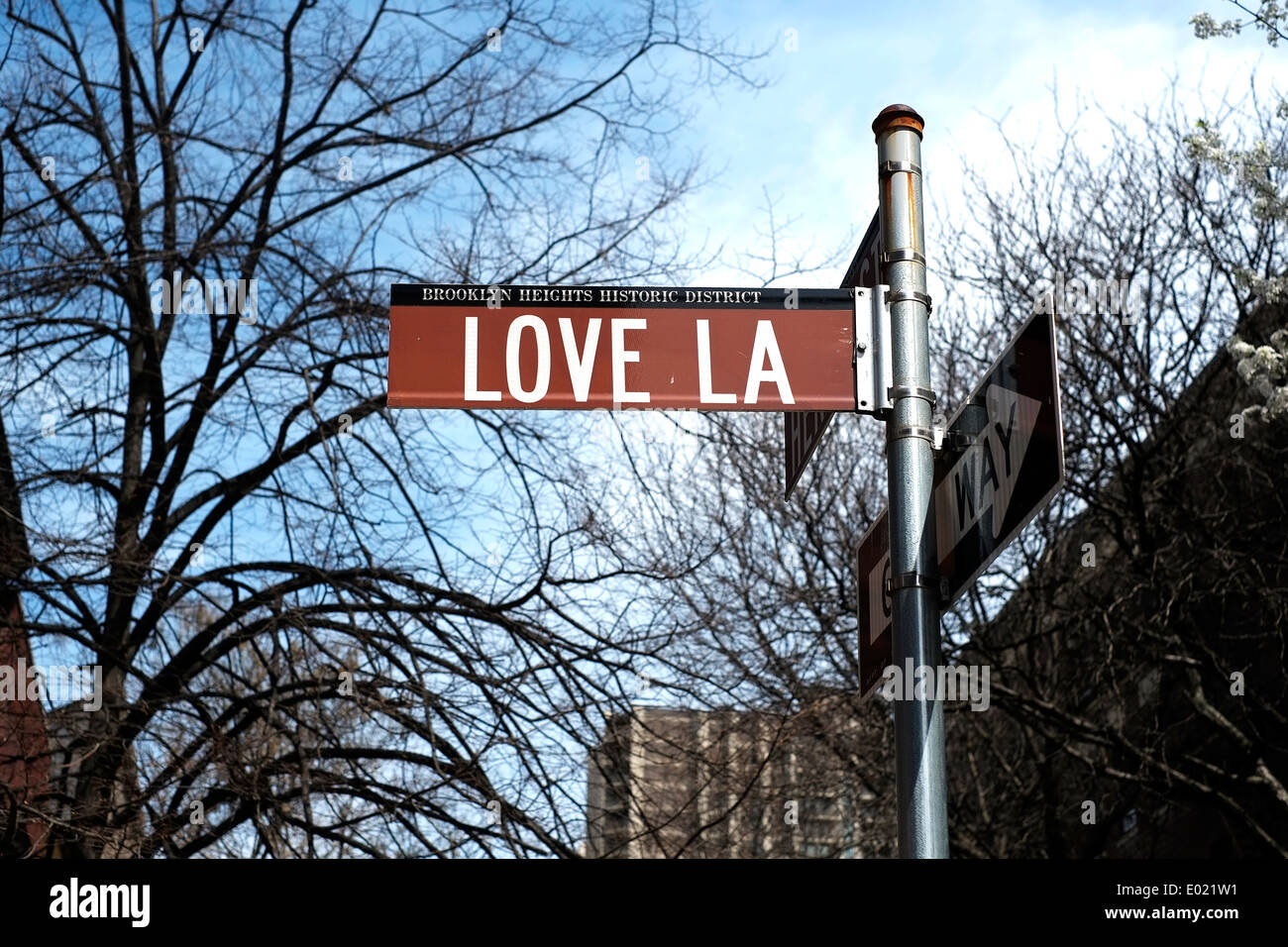View of a street sign for Love Lane in Brooklyn, New York City. - Stock Image