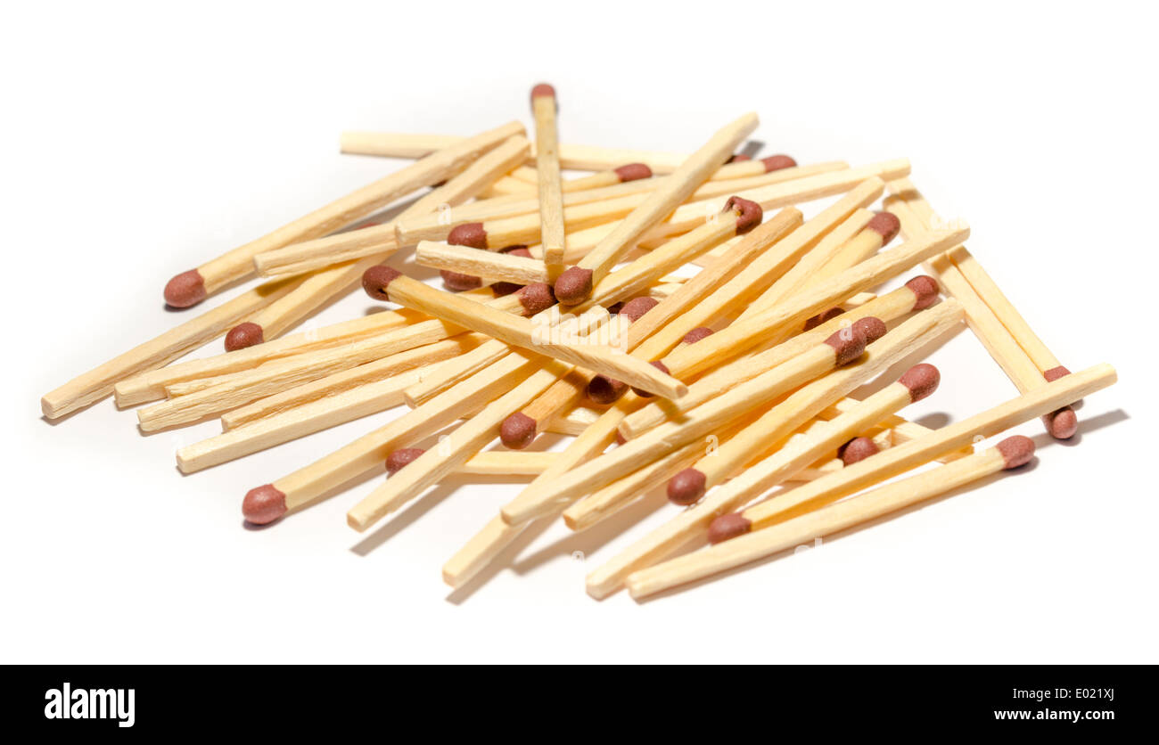 Pile of long matches with a white background. - Stock Image