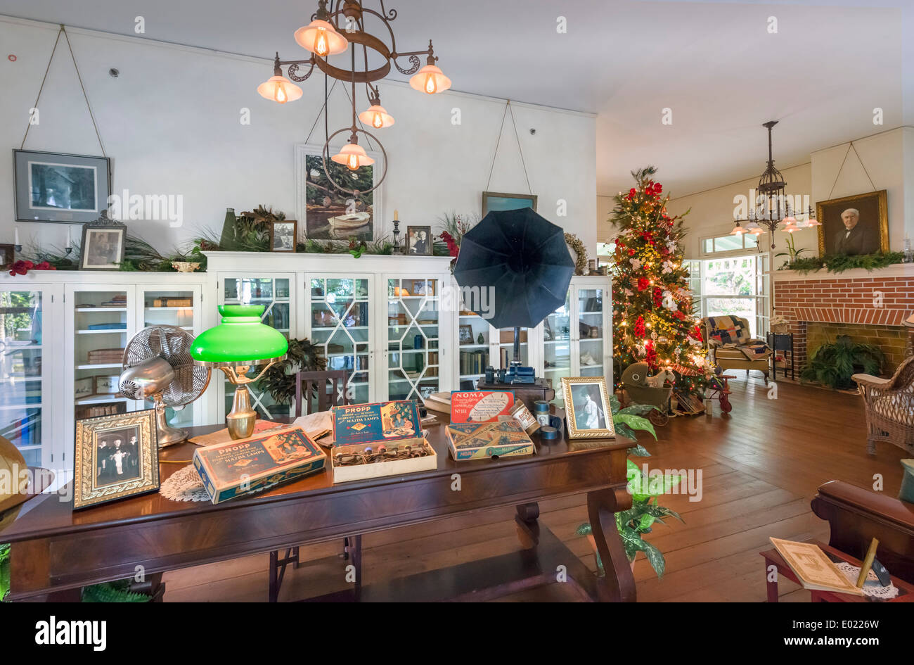 Interior of Seminole Lodge, Thomas Edison's winter home, Edison and Ford Winter Estates, Fort Myers, Florida, USA Stock Photo