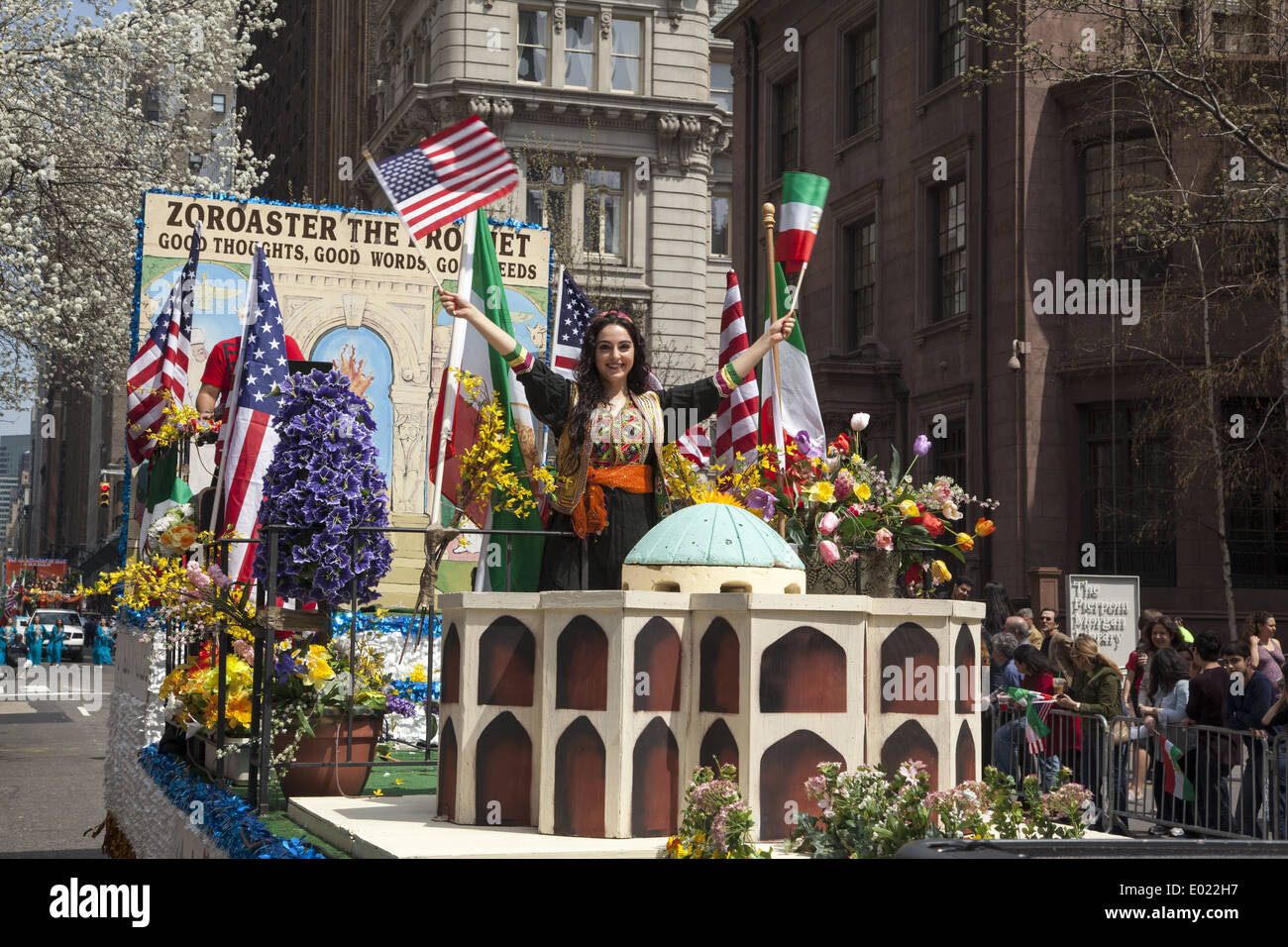 Float paying tribute to the ancient Zoroastrian religion of Persia. Persian Day Parade, New York City - Stock Image