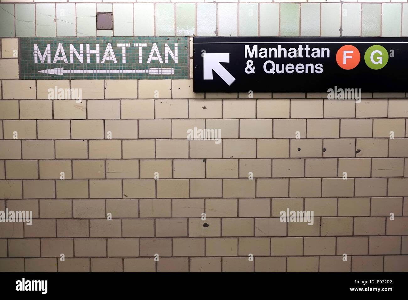 Sings for the Manhattan bound F and G subway lines in New York City. - Stock Image