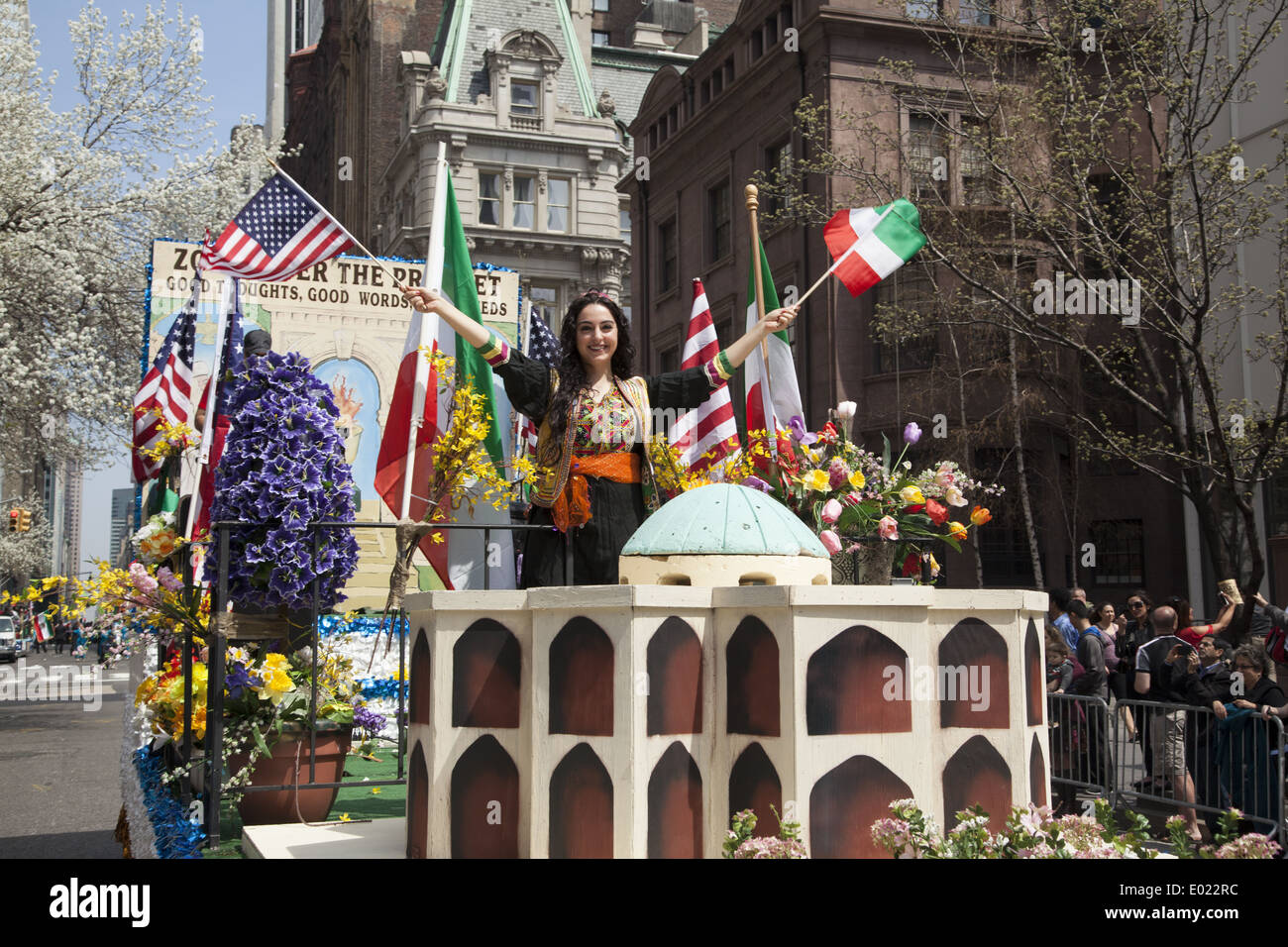 Float paying tribute to the ancient Zoroastrian religion of Persia. Persian Day Parade, New York City Stock Photo