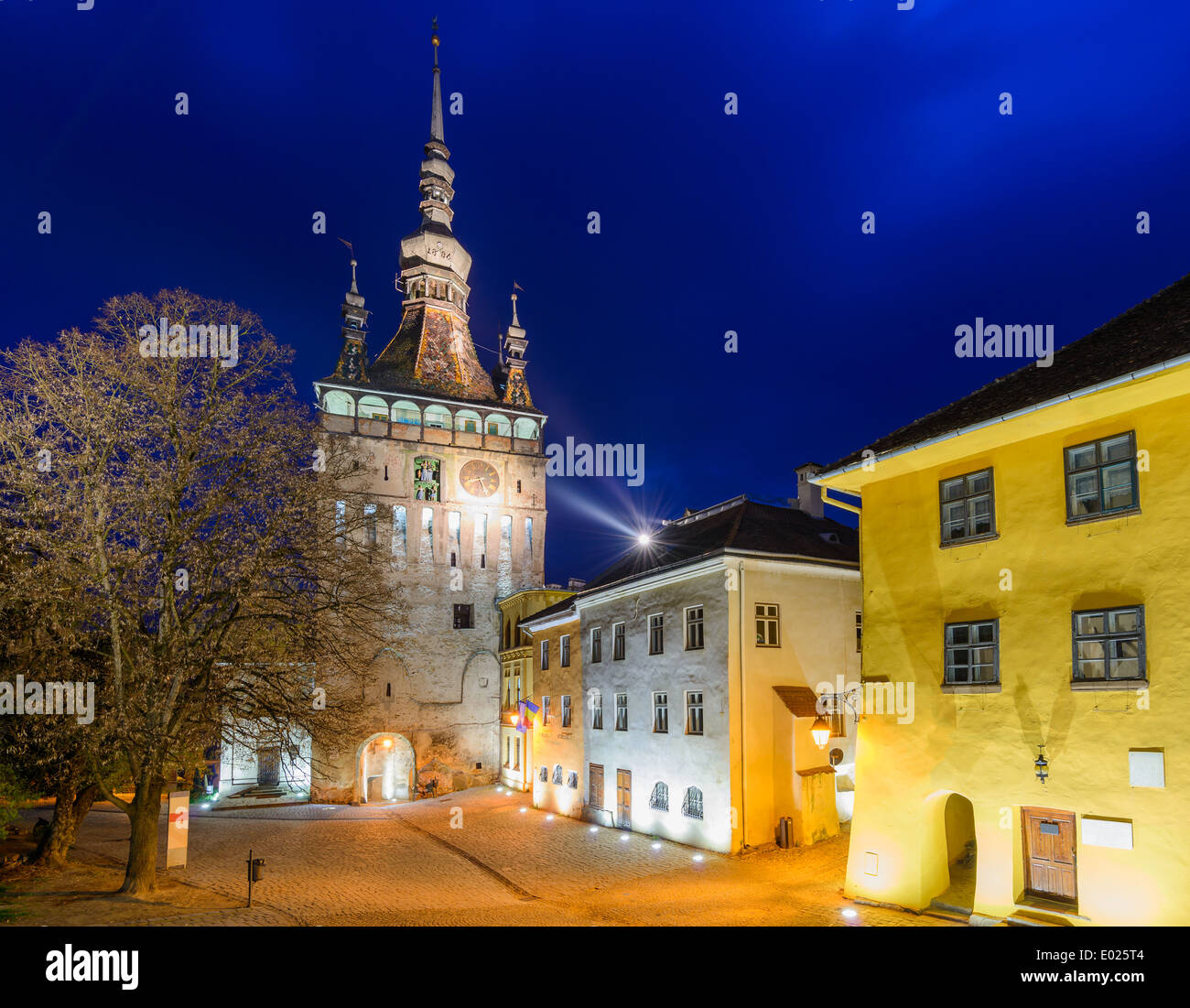 clock tower in sighisoara, transylvania, romania, at night Stock Photo