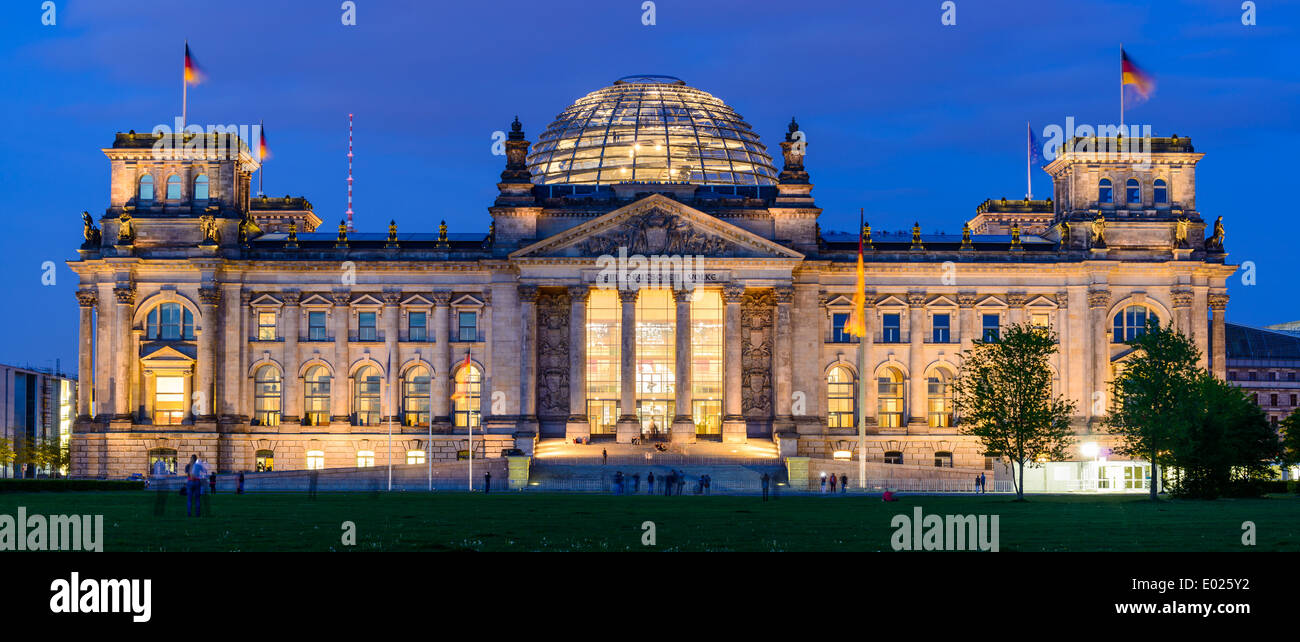 panorama with reichstag building in berlin, germany, at night Stock Photo