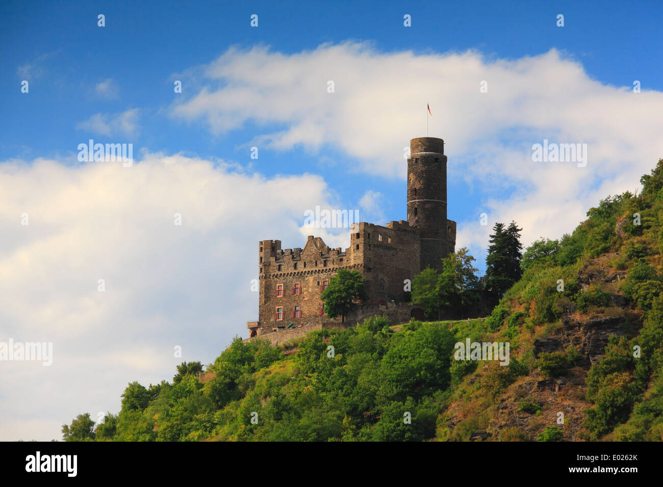Photo of Maus Castle above Wellmich on the Upper Middle Rhine River, Germany Stock Photo