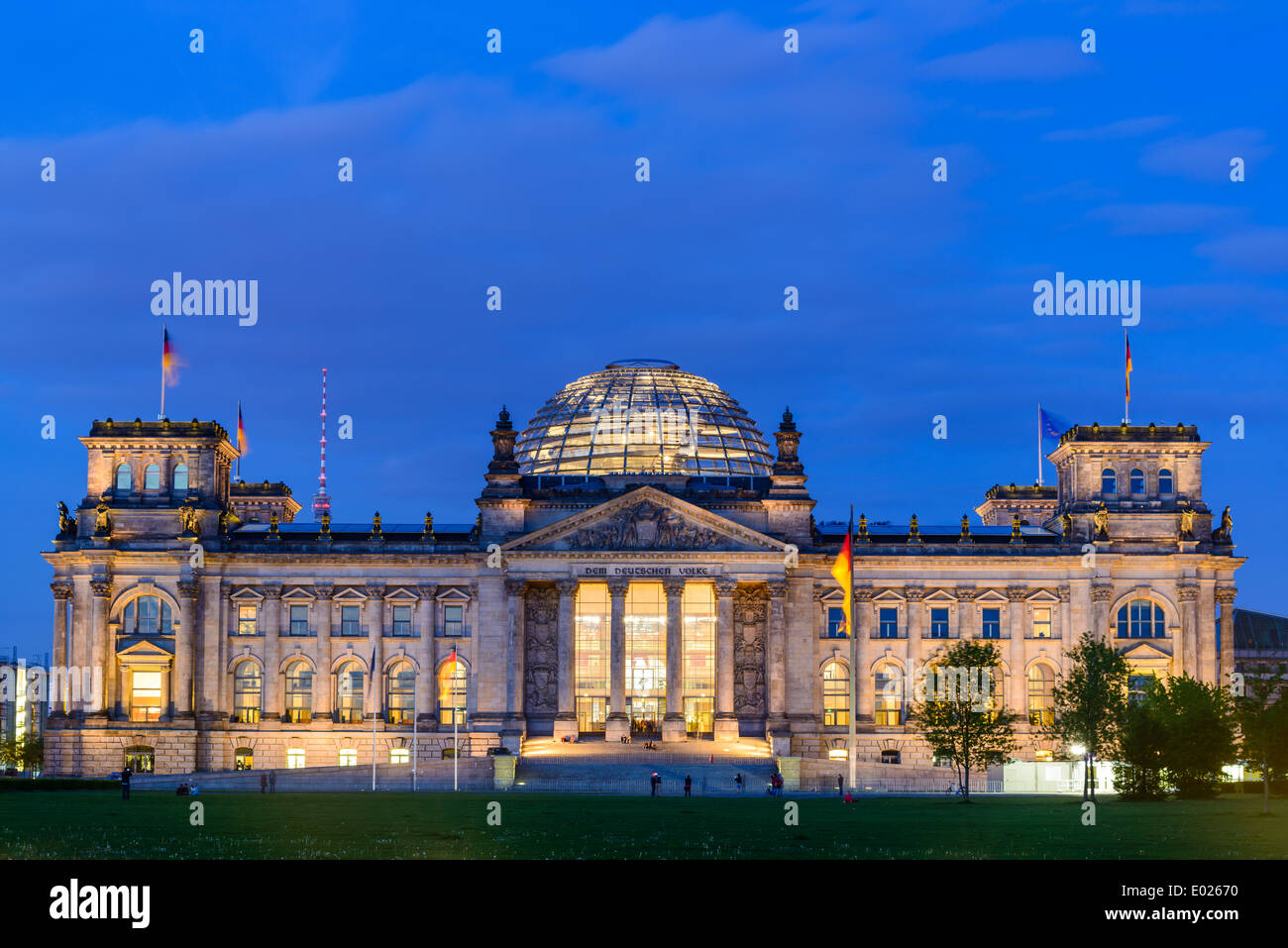 reichstag or bundestag building in berlin, germany, at night Stock Photo