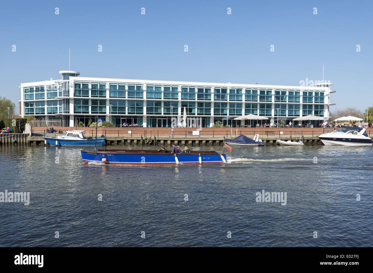The Captains Club Hotel on Christchurch Harbour in Dorset England UK - Stock Image