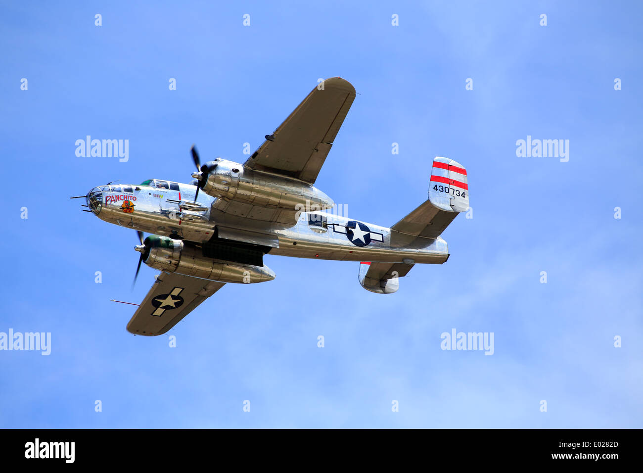 A WW2 WWII world war two B-25 Mitchell Bomber aircraft in flight - Stock Image