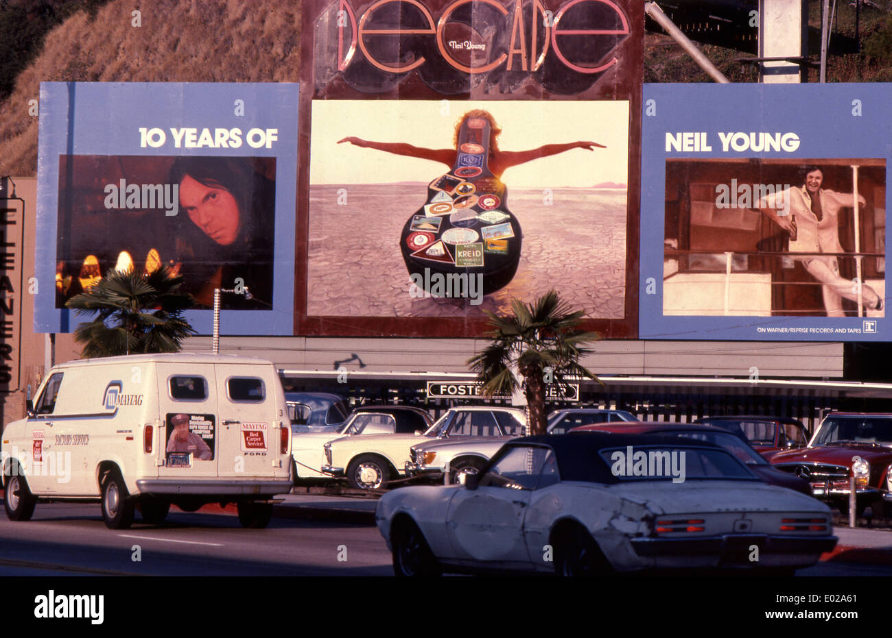 Neil Young billboard on the Sunset Strip circa 1977 - Stock Image