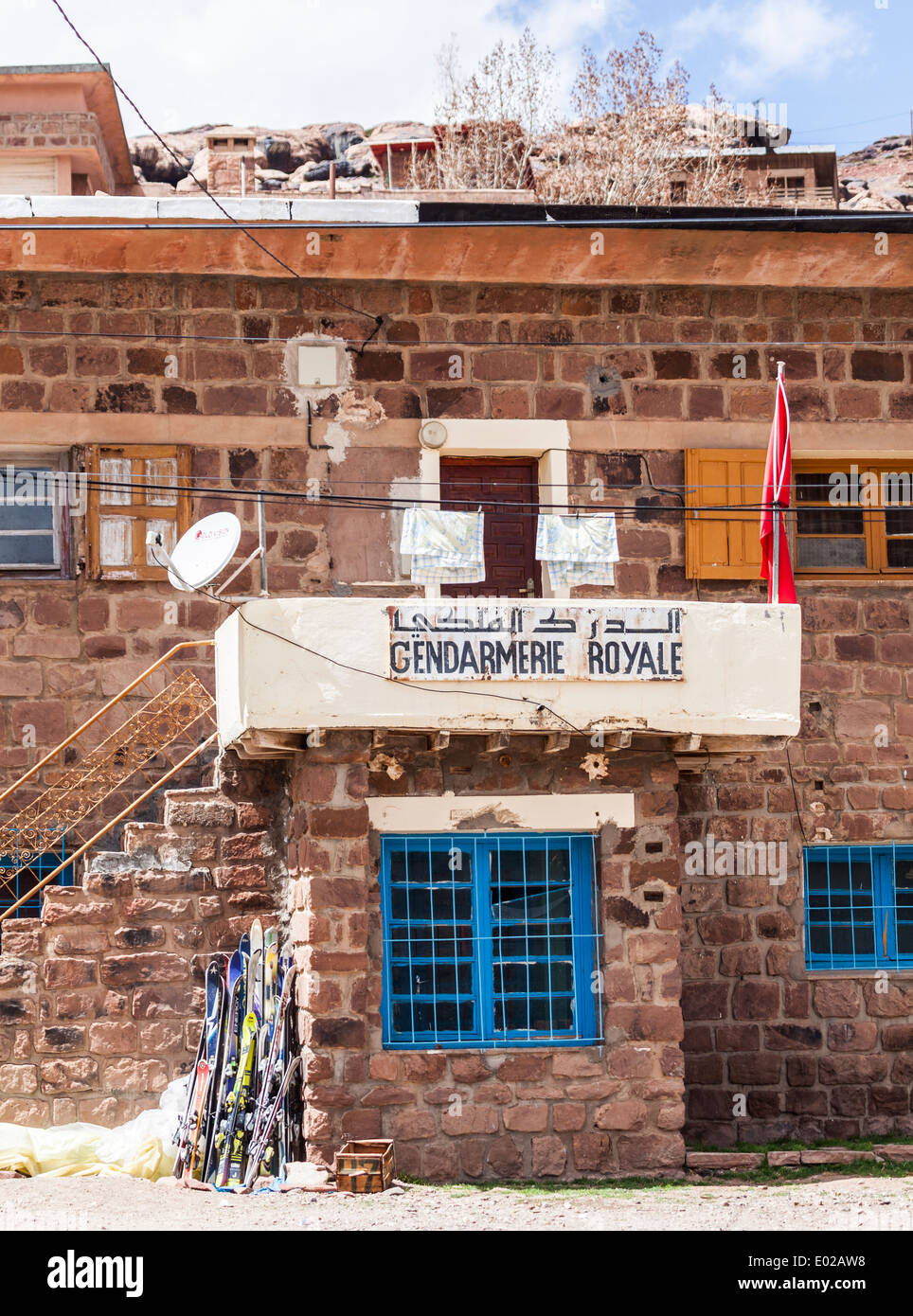 Gendarmerie Royale, police station in Oikaimeden in the High Atlas mountains of Morocco, North Africa - Stock Image