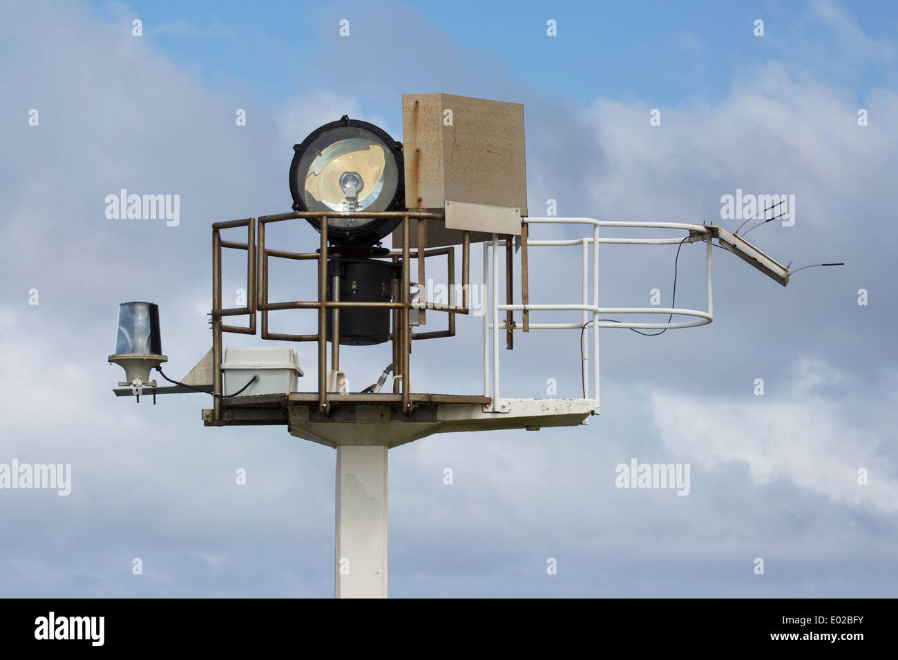 Kilauea automatic rotating beacon provides light for navigators. - Stock Image