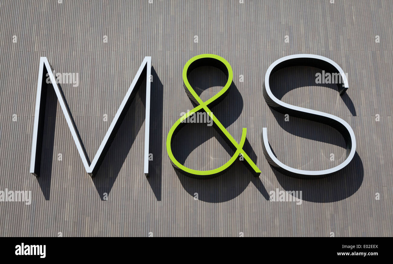 Marks&Spencer logotype on the wall of the M&S store in York, UK - Stock Image