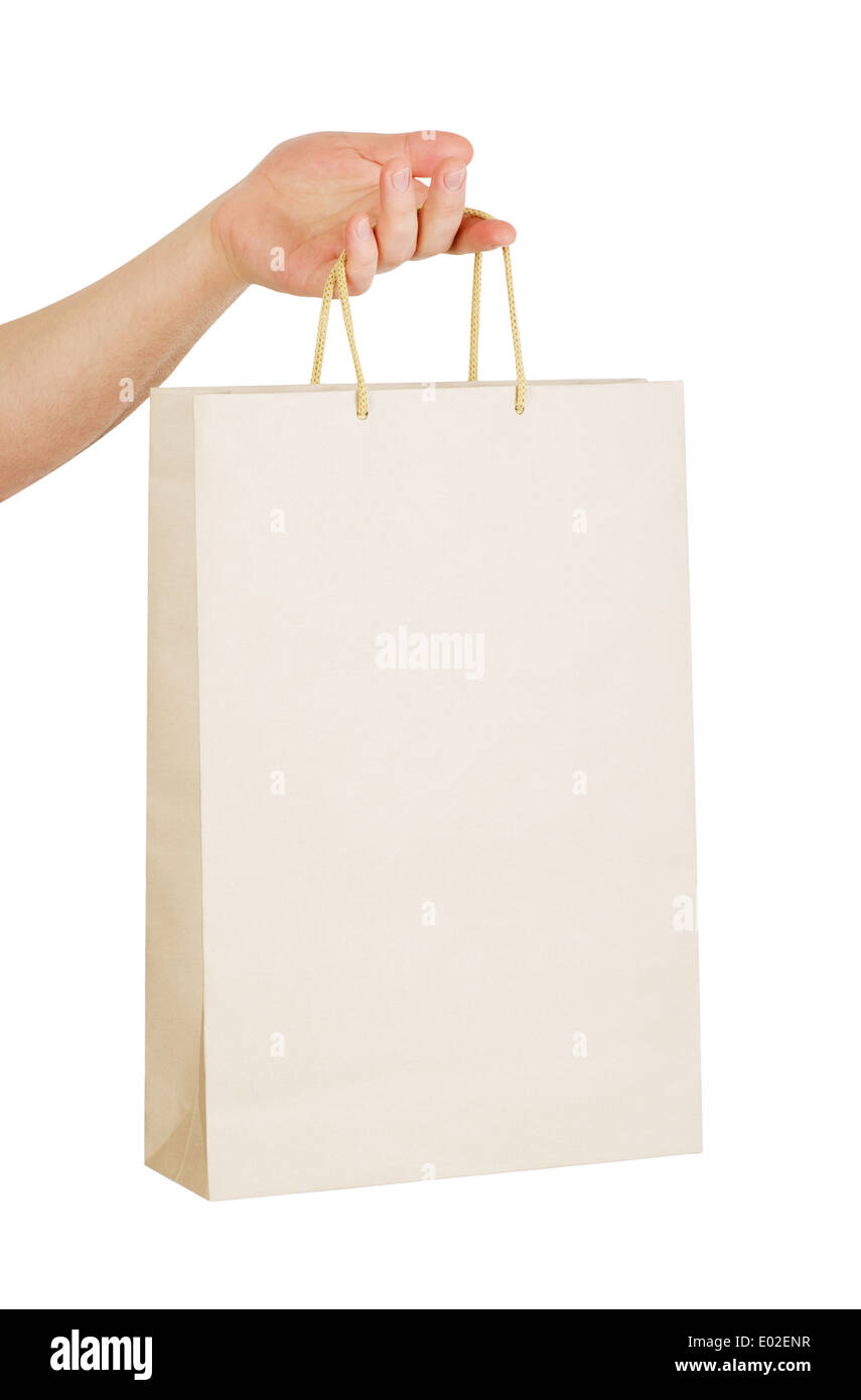 Human Hand Carry Blank Slate Beige Paper Bag Isolated On White Stock Photo Alamy