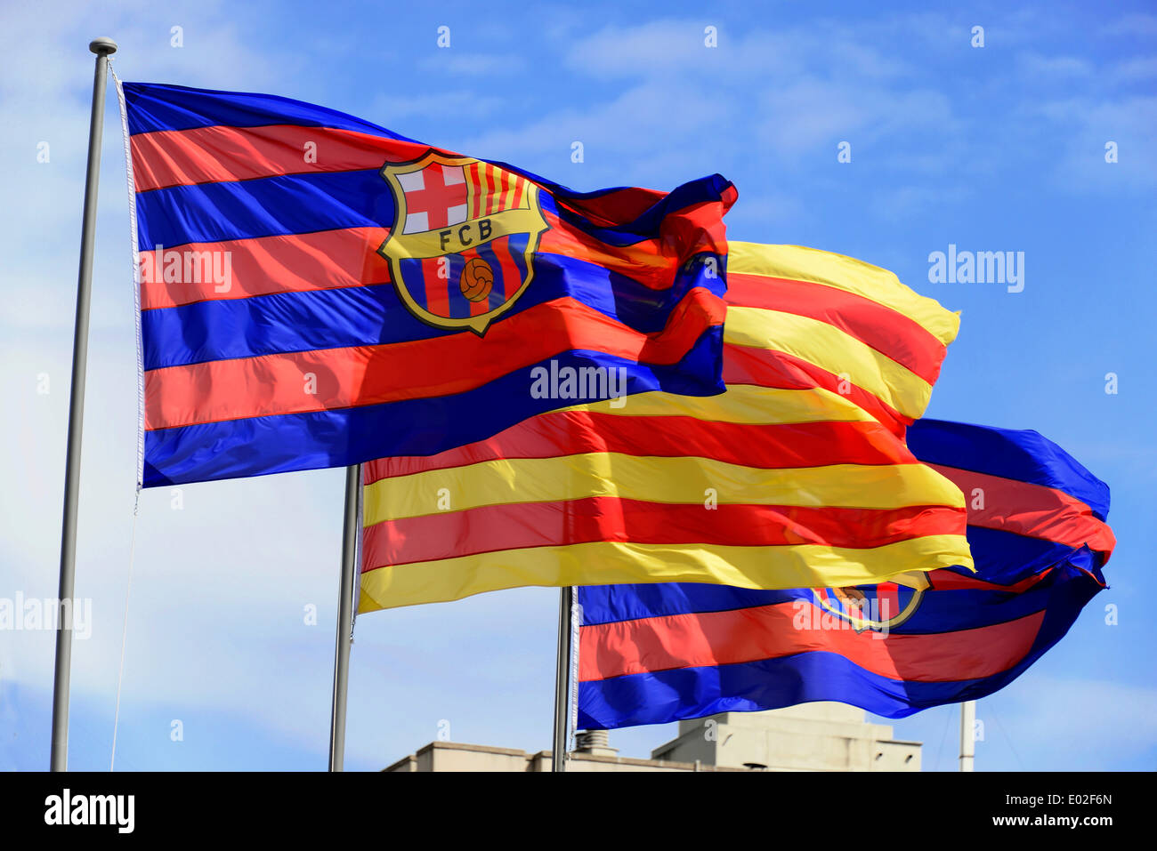 FC Barcelona flags at the Camp Nou Stadium, Barcelona, Catalonia, Spain - Stock Image