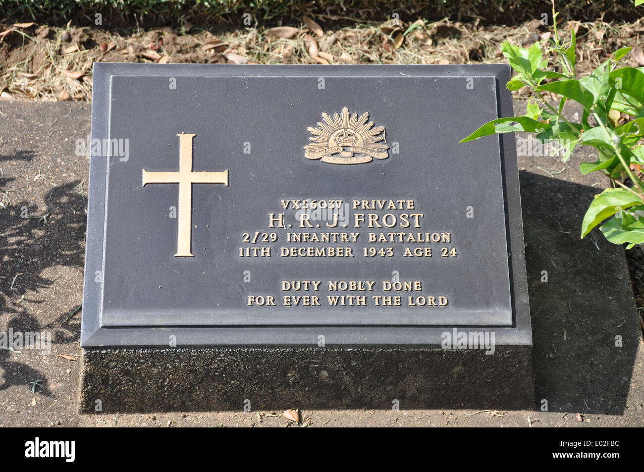 Headstone ,in The Kanchanaburi War Cemetery, of an Australian soldier, who died on the Thai - Burma Railway during WW ll. - Stock Image