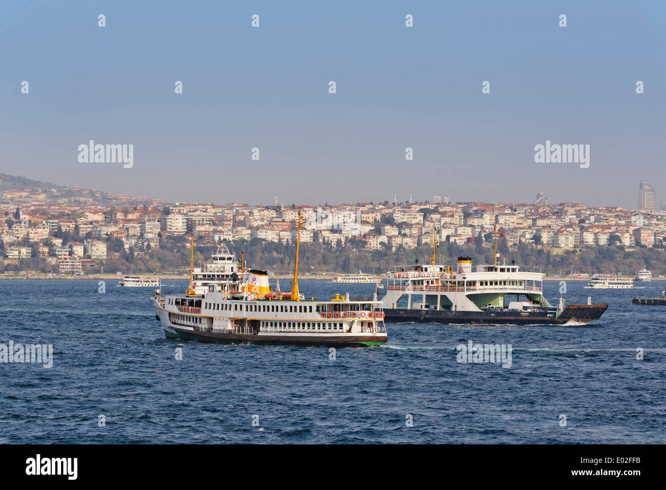 Ferries on the Bosphorus, view from Galata Bridge to the Üsküdar district, Istanbul, Turkey - Stock Image