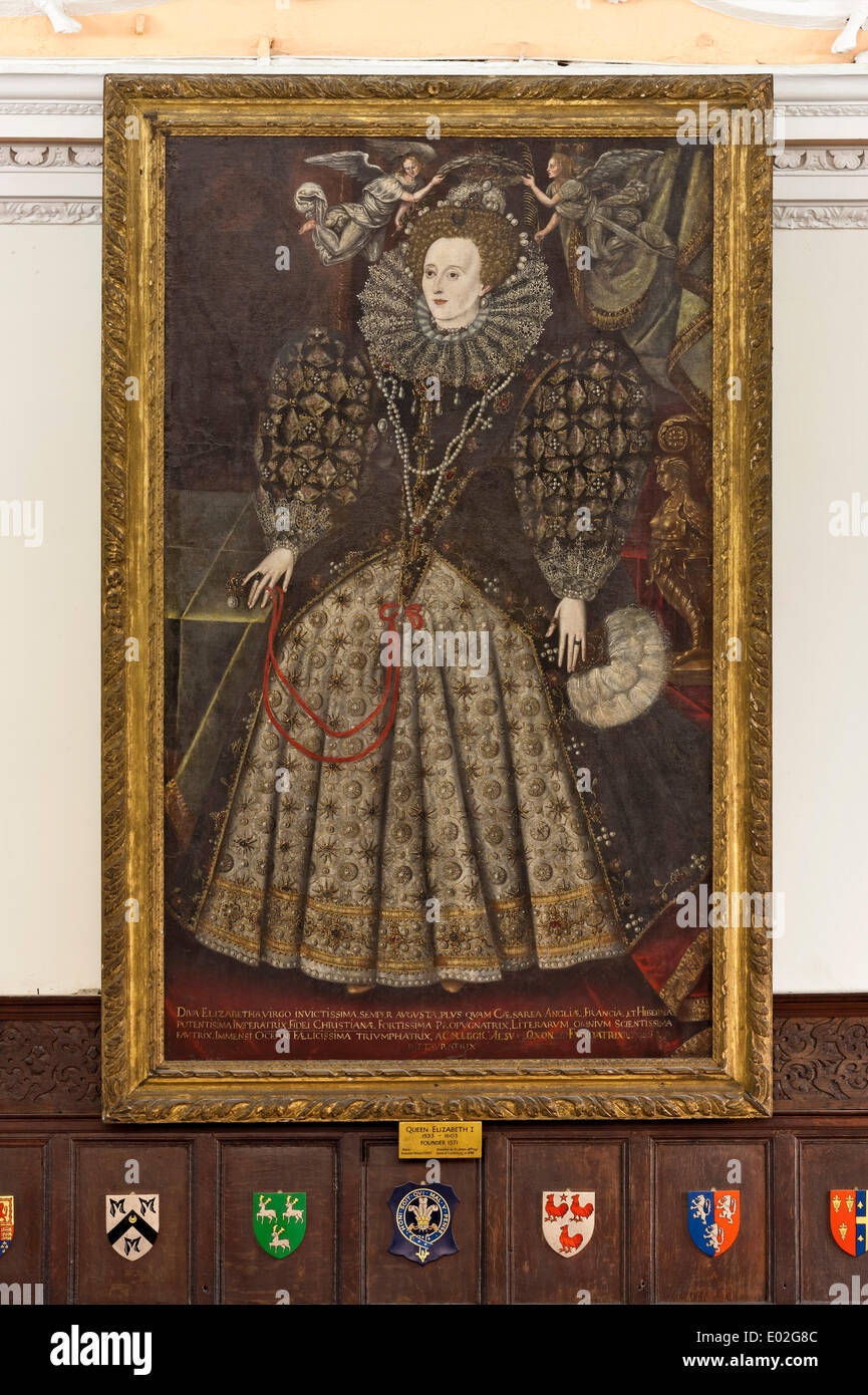Jesus College Oxford, Oxford, United Kingdom. Architect: N/A, 1571. Portrait of Queen Elizabeth I in the Dining Hall. - Stock Image