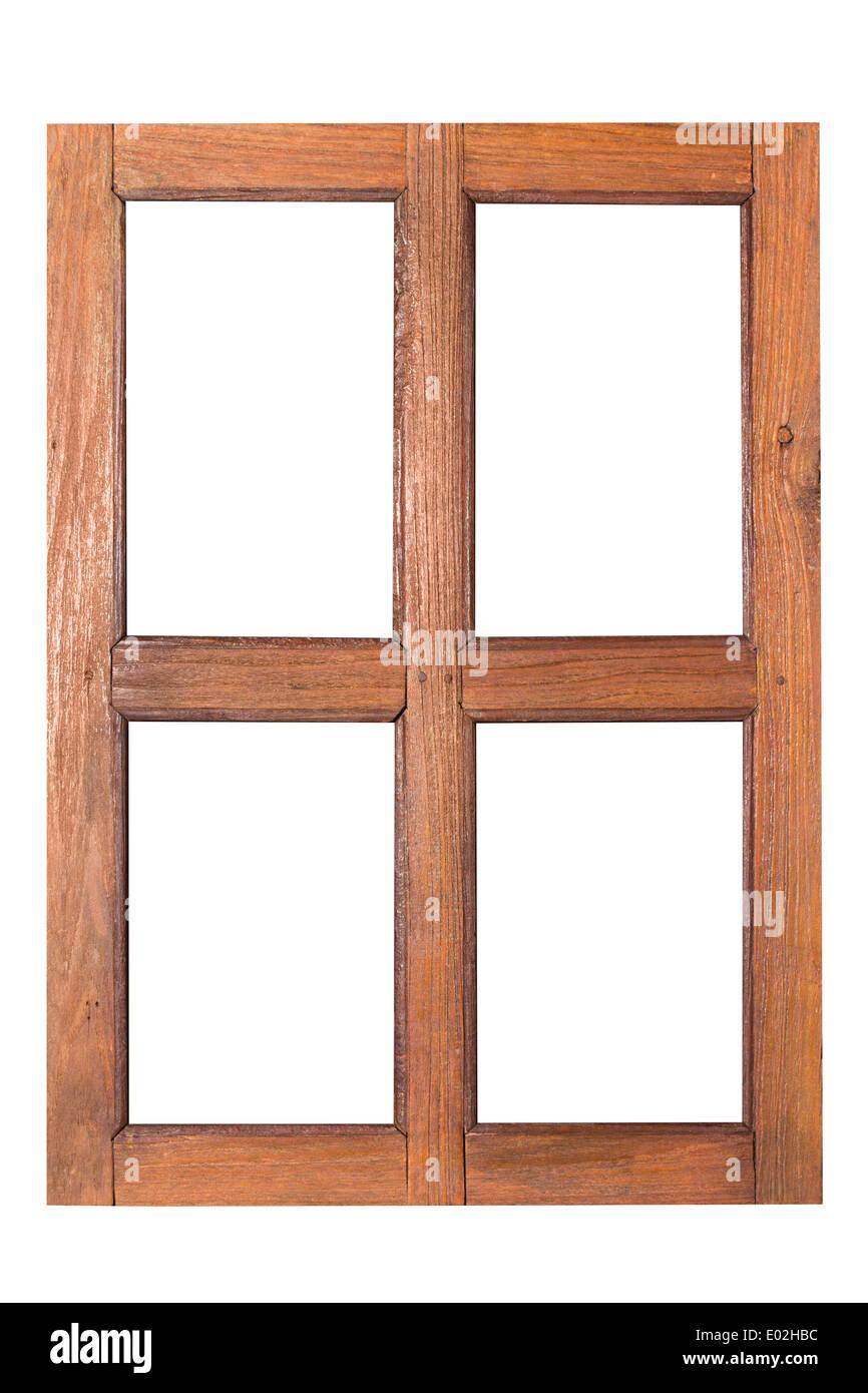wooden window rectangular hole isolated on white background - Stock Image