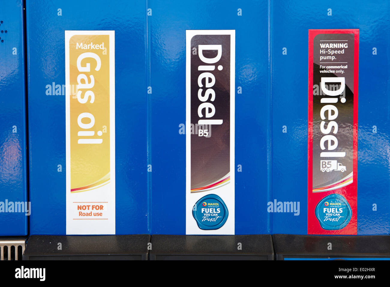 gas oil diesel and high speed biofuel diesel pumps at a petrol station northern ireland - Stock Image
