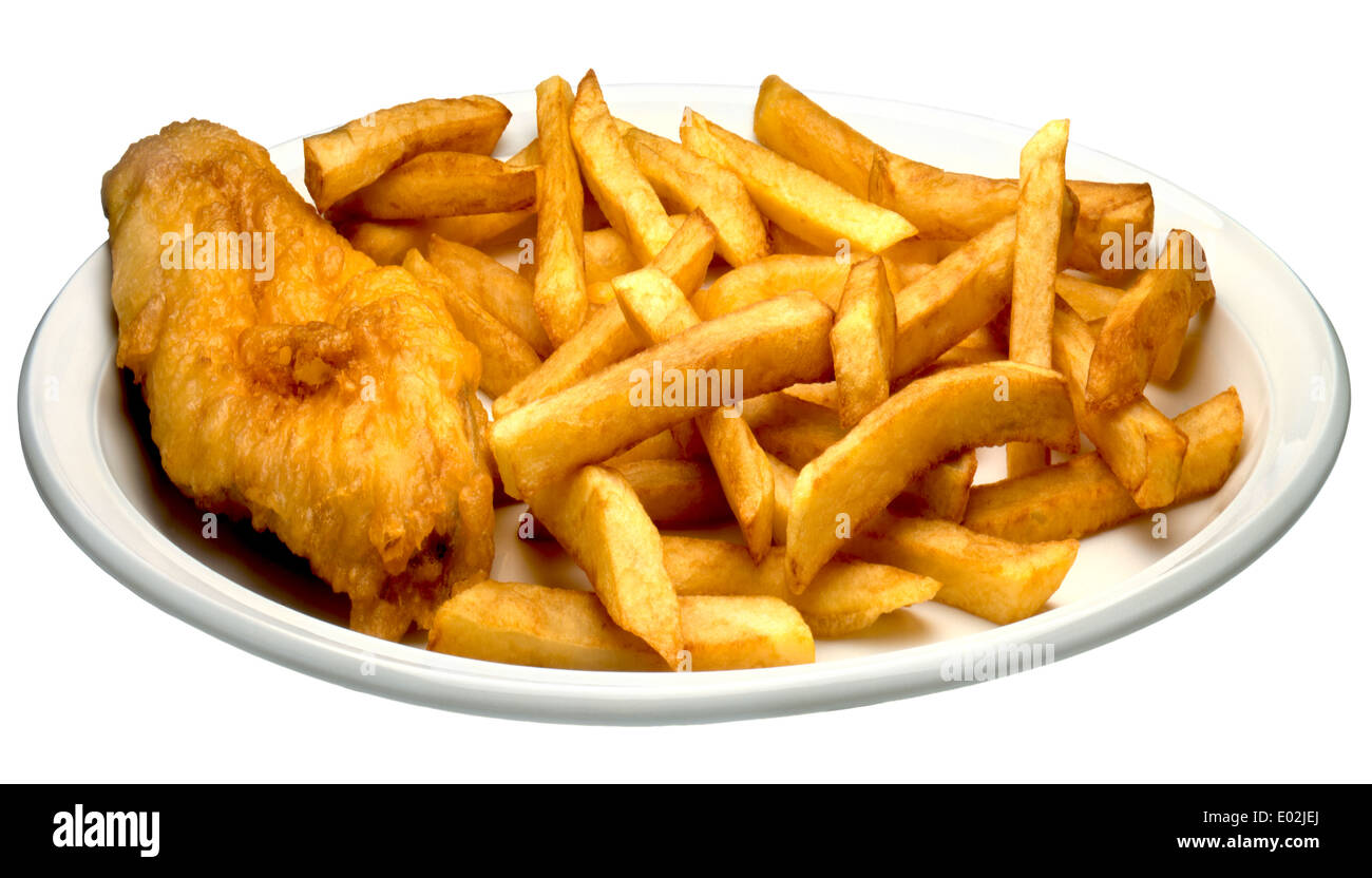 FISH AND CHIPS ON A PLATE A PLATE OF TRADITIONAL FISH AND CHIPS OR COD AND CHIPS.CUT OUT WHITE BACKGROUND - Stock Image