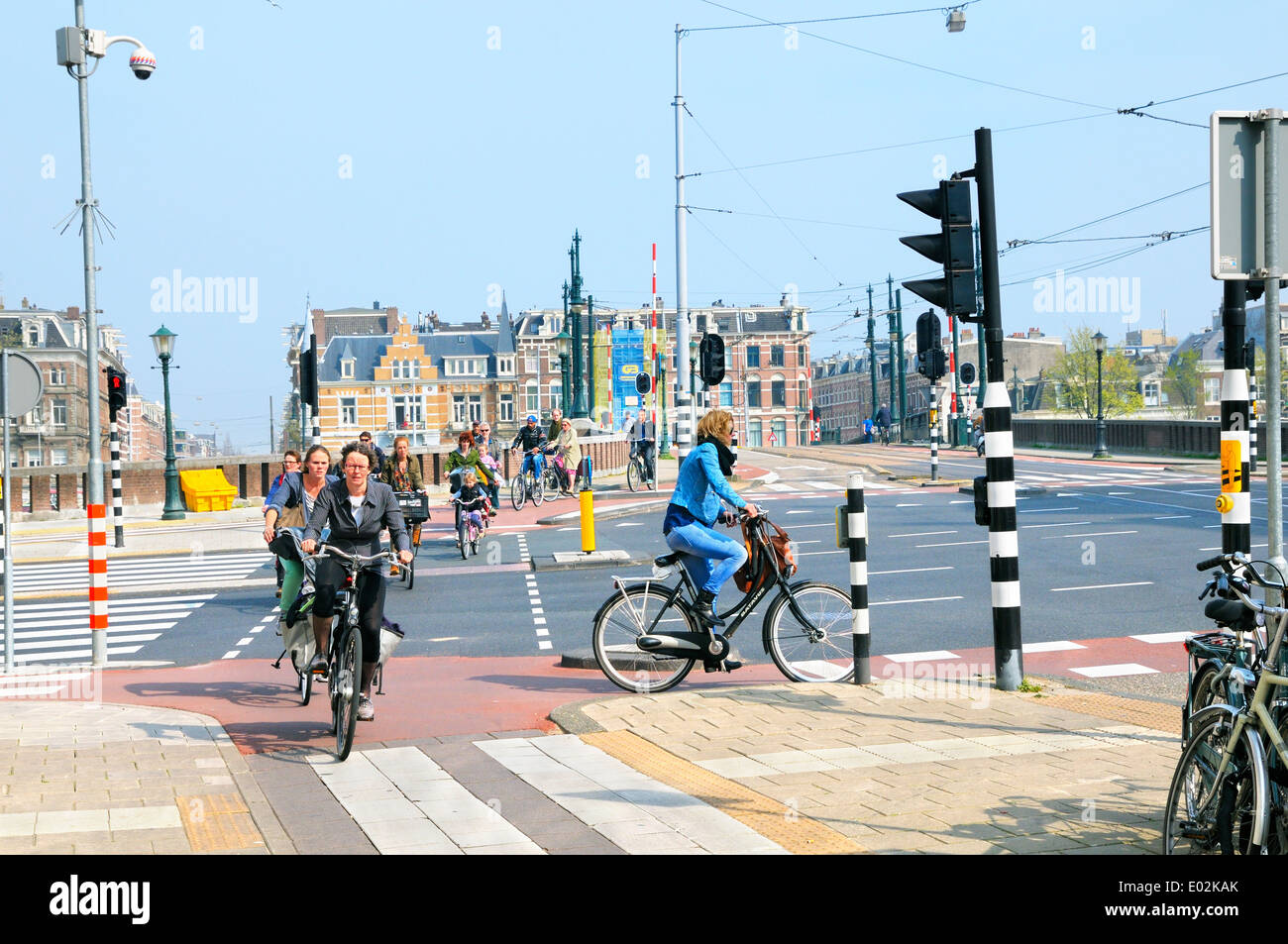 Cyclists in the Amstel area of Amsterdam, Noord Holland, Netherlands - Stock Image