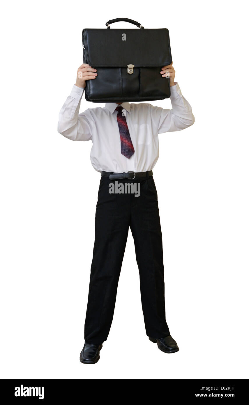 Businessman with a briefcase instead of a head - Stock Image