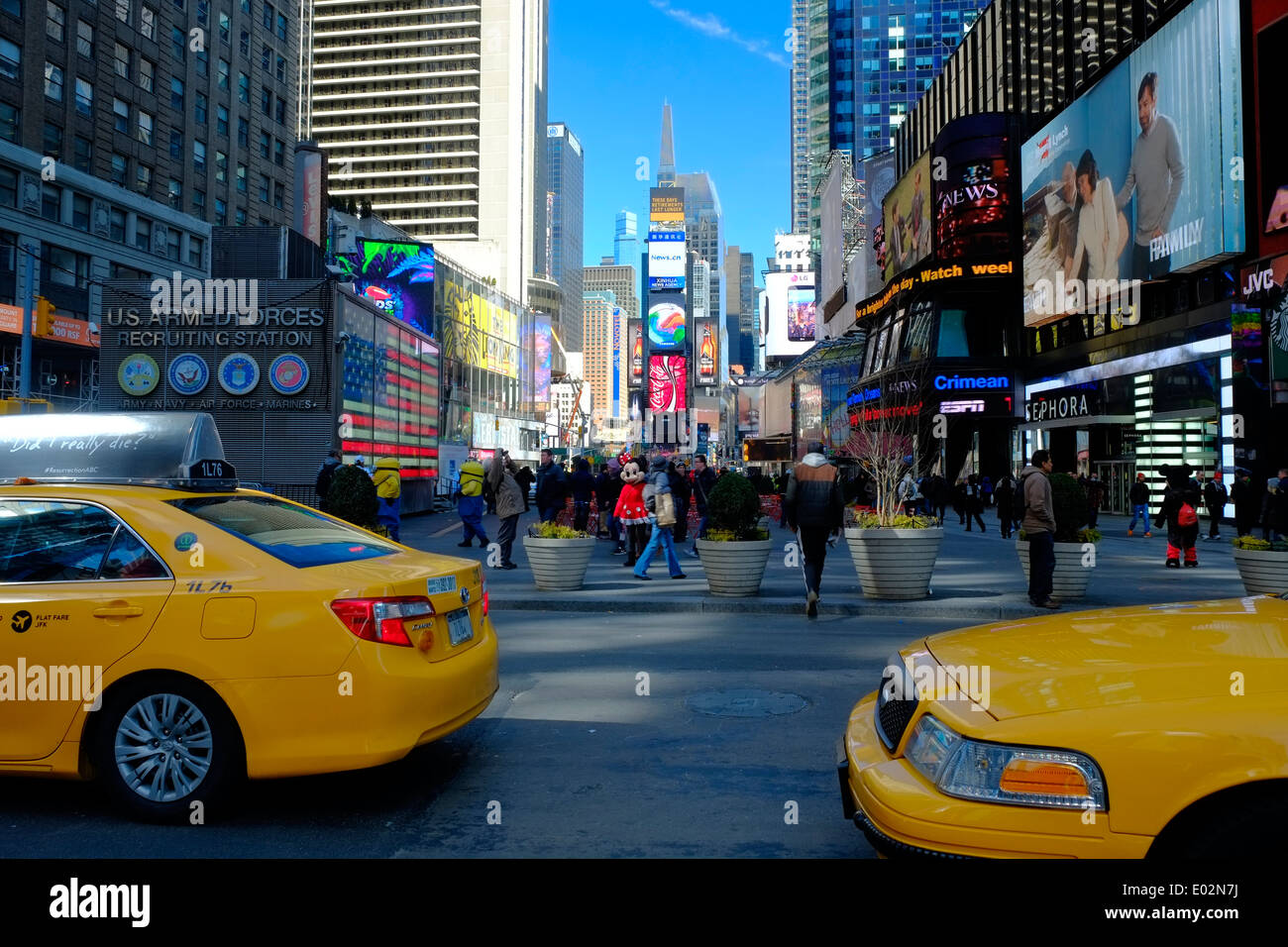 Taxi, Cabs in Times Square, New York, USA - Stock Image