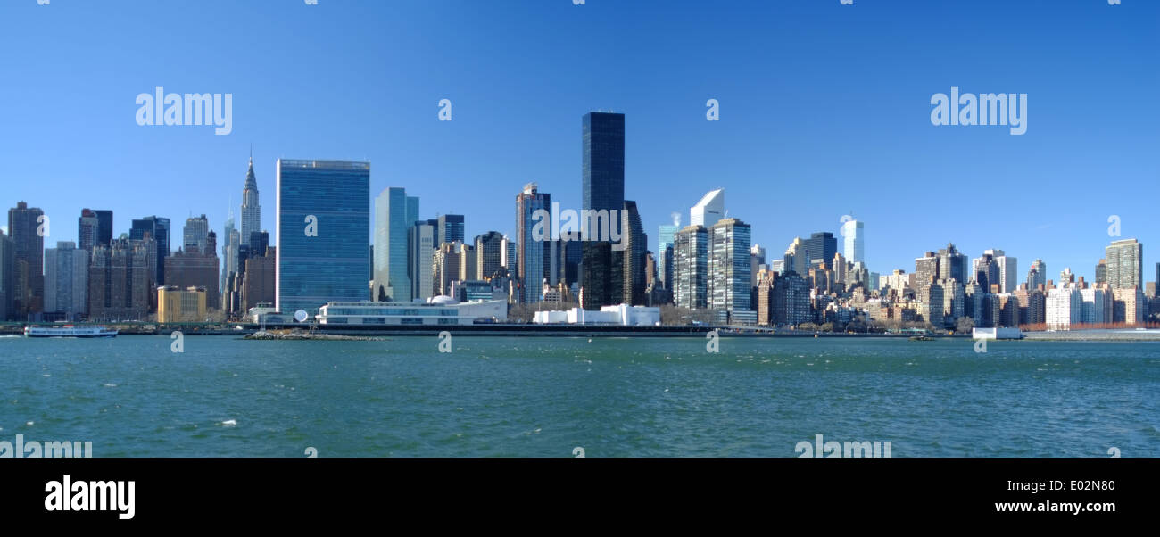 Midtown and The United Nations Building, New York, USA - Stock Image
