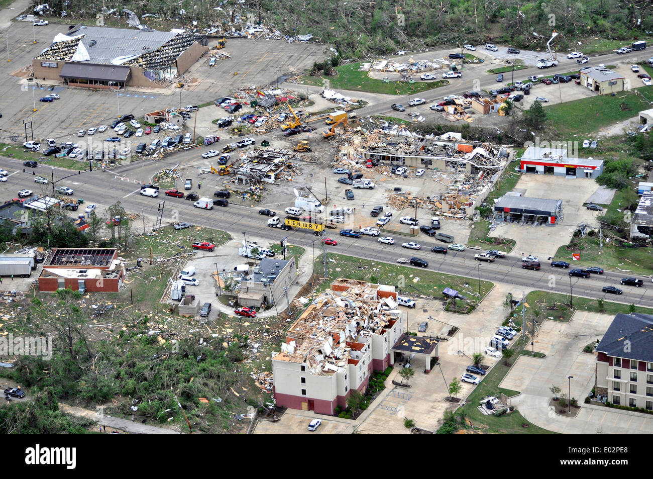 Aerial view of destruction to buildings by tornadoes that swept across the southern states killing 35 people April 28, 2014 in Tupelo, Mississippi. - Stock Image
