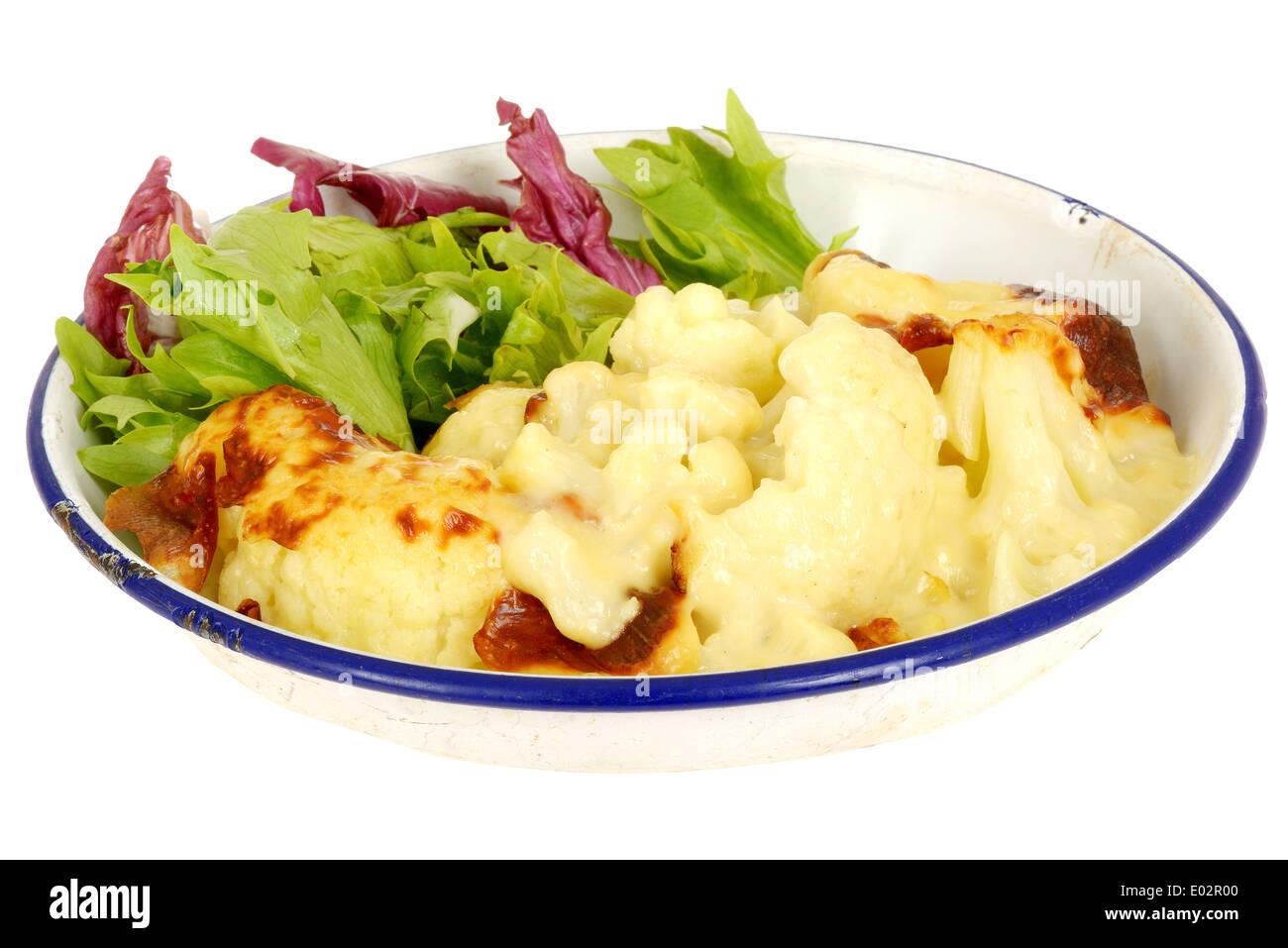 Cauliflower Cheese with Salad - Stock Image
