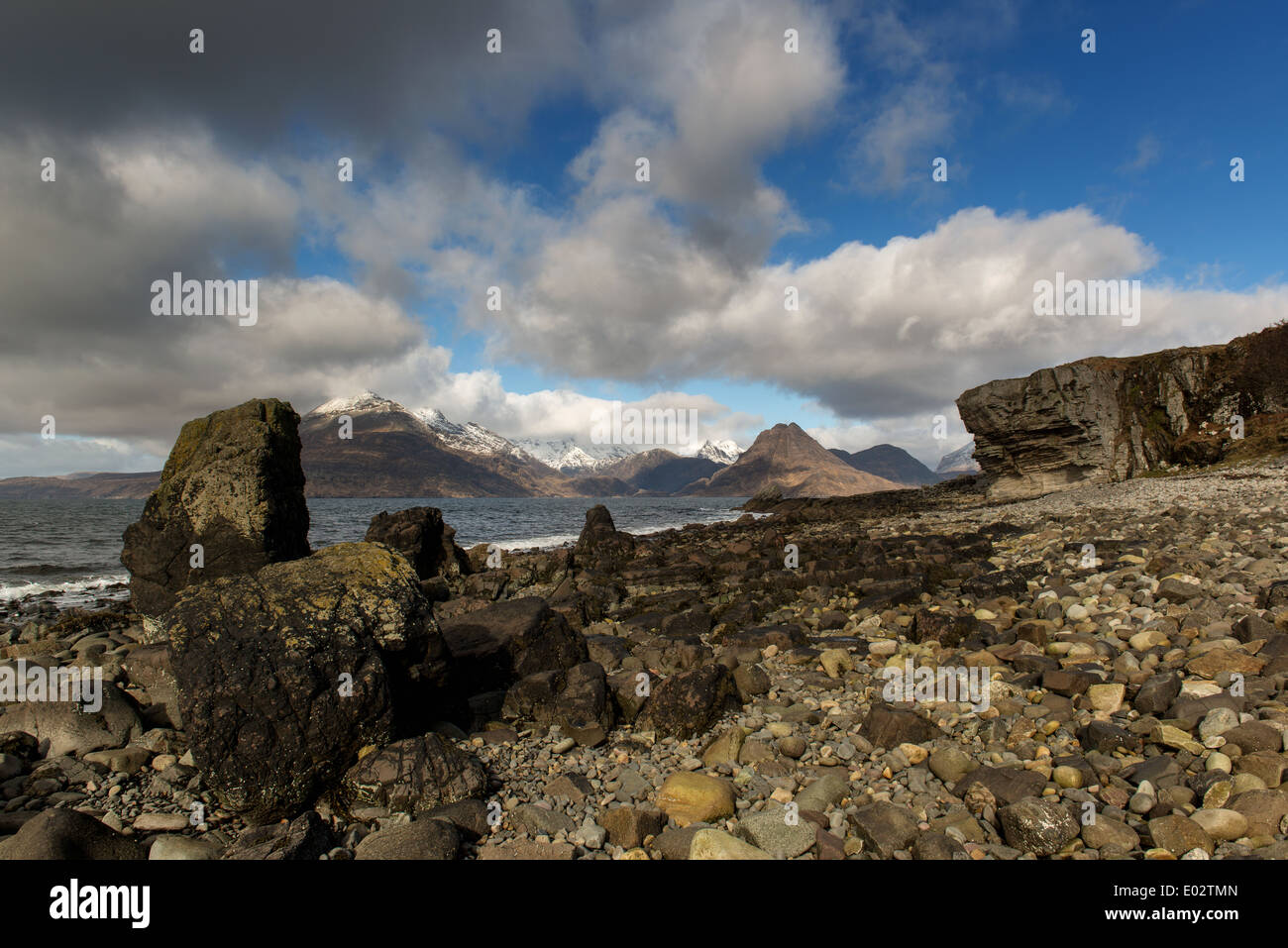 Elgol on Loch Scavaig Island of Skye, Black Cuillin mountains in the distance. Inner Hebrides ,Scotland - Stock Image