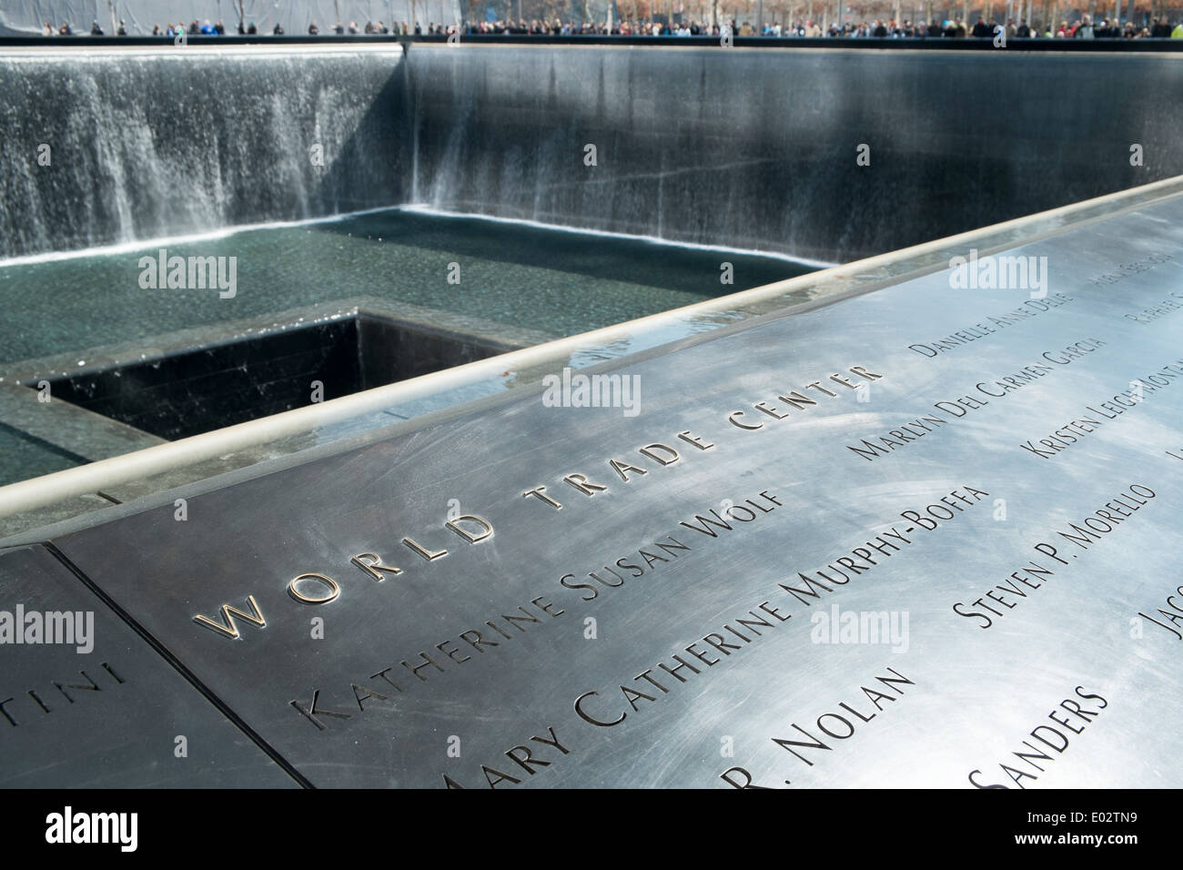 9/11 ground zero memorial site for the world trade towers, New York, USA - Stock Image