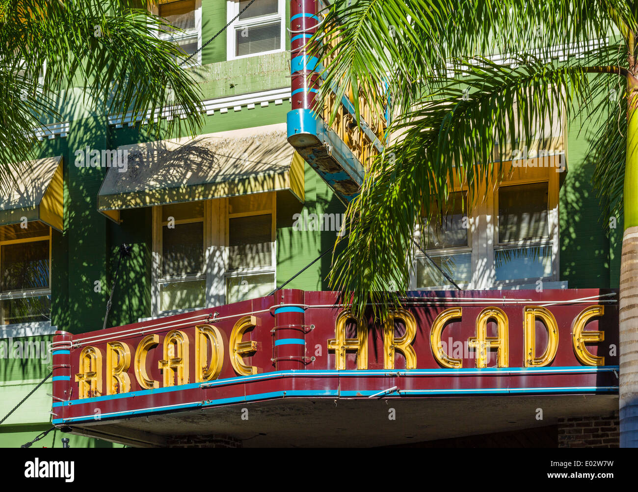 Historic Arcade Theater on First Street in the River District in downtown Fort Myers, Florida, USA - Stock Image